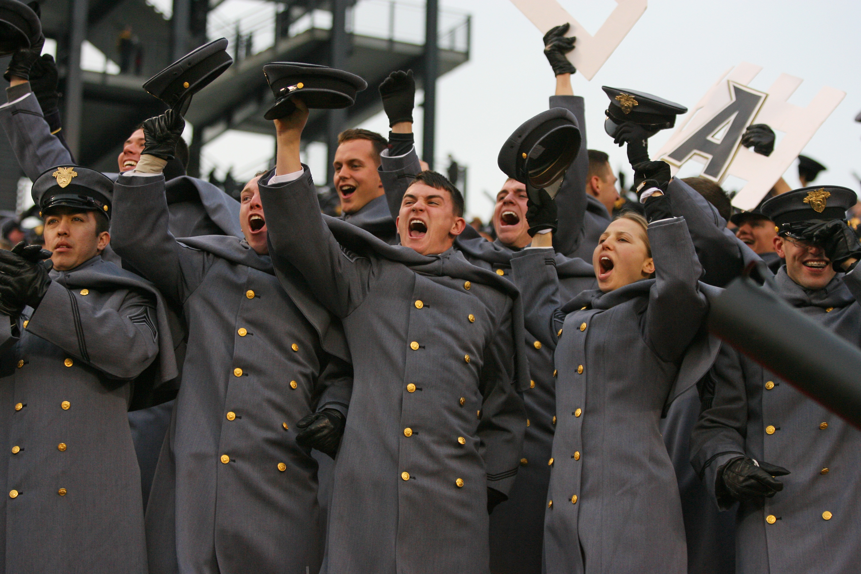 PHILADELPHIA - DECEMBER 11: Army Cadets cheer during a game against the Navy Midshipmen on December 11, 2010 at Lincoln Financial Field in Philadelphia, Pennsylvania. The Midshipmen won 31-17. (Photo by Hunter Martin/Getty Images)