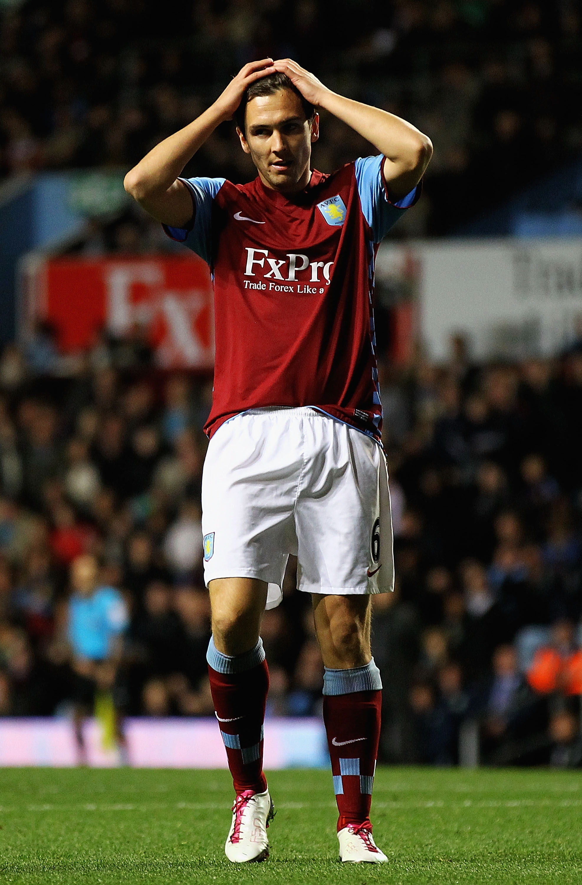 BIRMINGHAM, ENGLAND - OCTOBER 27:  Stuart Downing of Aston Villa looks on, after he missed a chance on goal during the Carling Cup Fourth Round match between Aston Villa and Burnley at Villa Park on October 27, 2010 in Birmingham, England.  (Photo by Matt