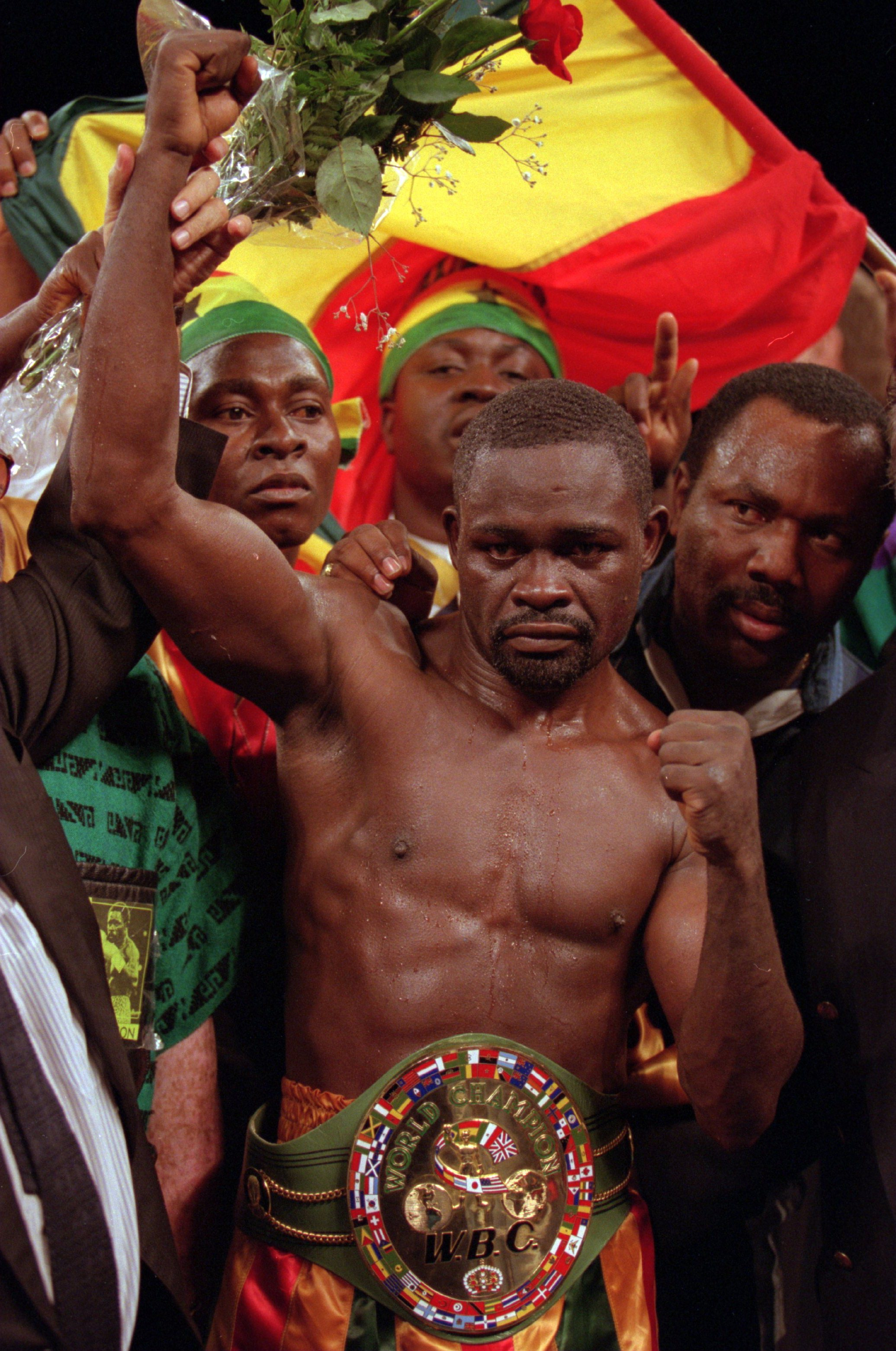 1 Dec 1995: Boxer Azumah Nelson celebrates after his fifth round TKO against Gabriel Ruelas in Palm Springs, California. Mandatory Credit: Al Bello/ALLSPORT