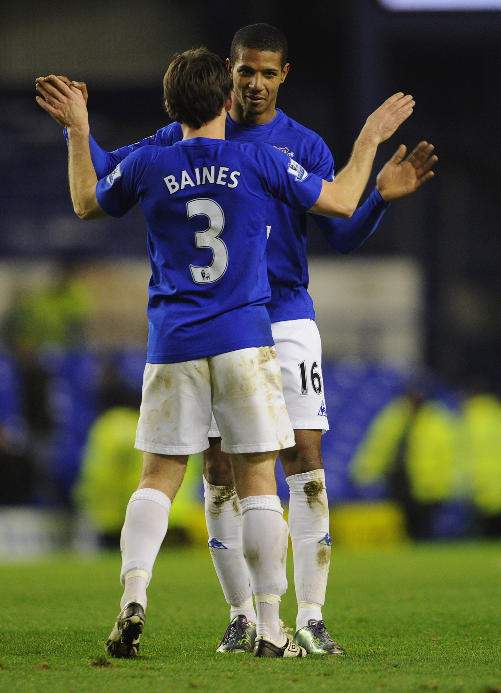 LIVERPOOL, ENGLAND - NOVEMBER 10: Jermaine Beckford of Everton is congratulated by Leighton Baines after the Barclays Premier League match between Everton and Bolton Wanderers at Goodison Park on November 10, 2010 in Liverpool, England.  (Photo by Michael