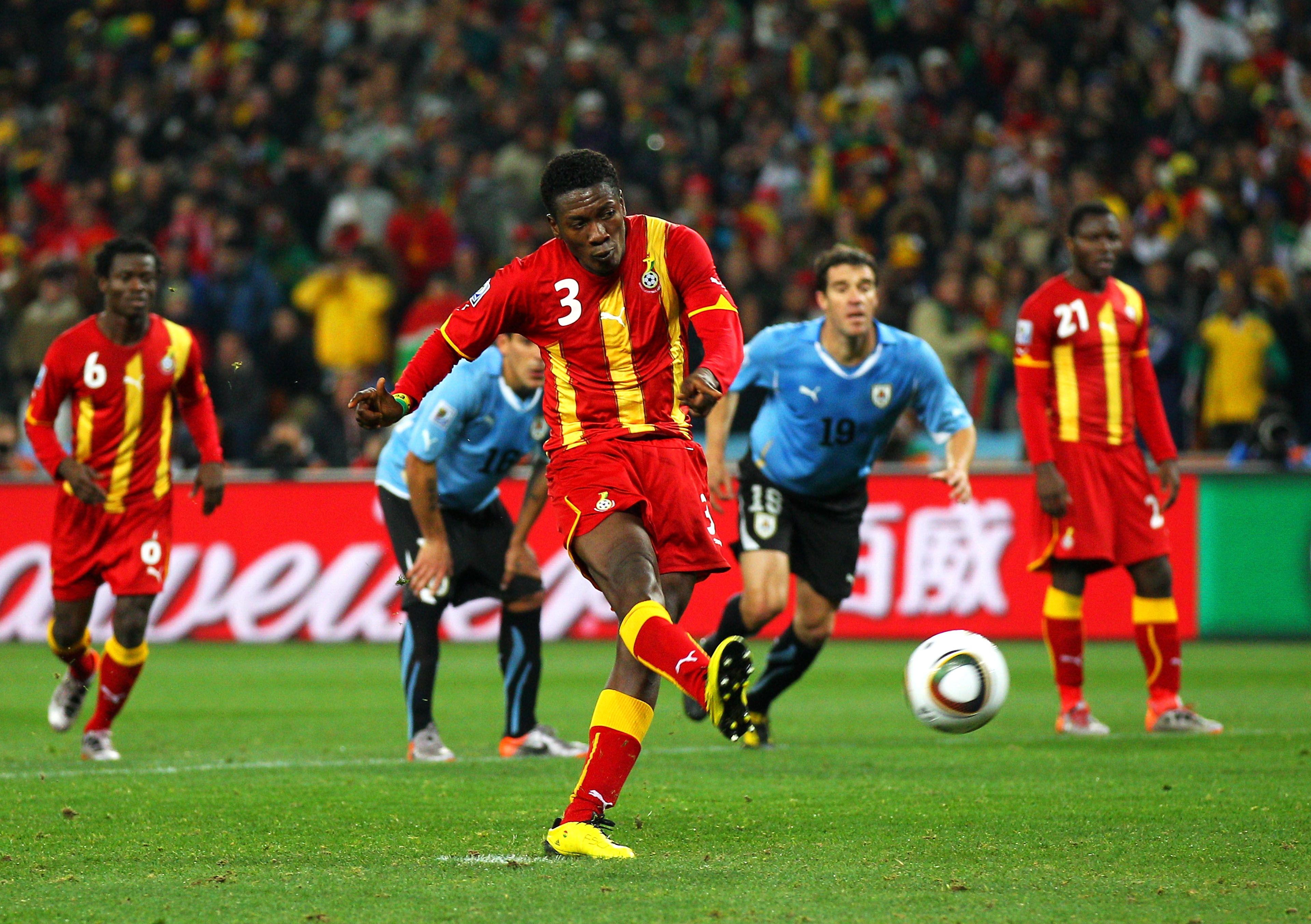 JOHANNESBURG, SOUTH AFRICA - JULY 02:  Asamoah Gyan of Ghana shoots a late penalty high during the 2010 FIFA World Cup South Africa Quarter Final match between Uruguay and Ghana at the Soccer City stadium on July 2, 2010 in Johannesburg, South Africa.  (P