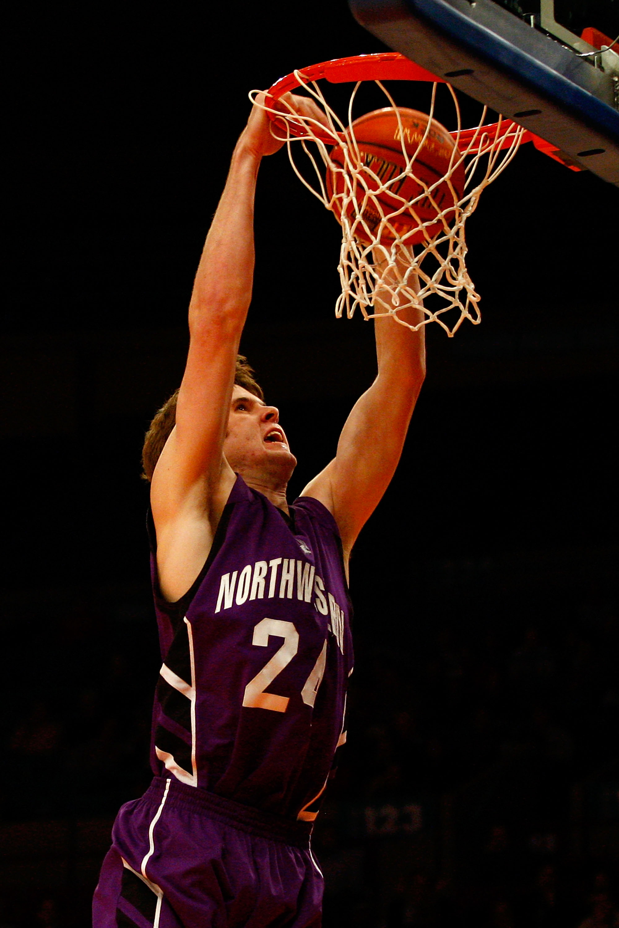 NEW YORK, NY - DECEMBER 20:  John Shurna #24 of the Northwestern Wildcats dunks against the St. Francis Terriers during the Madison Square Garden Holiday Festival at Madison Square Garden on December 20, 2010 in New York City.  (Photo by Chris Chambers/Ge