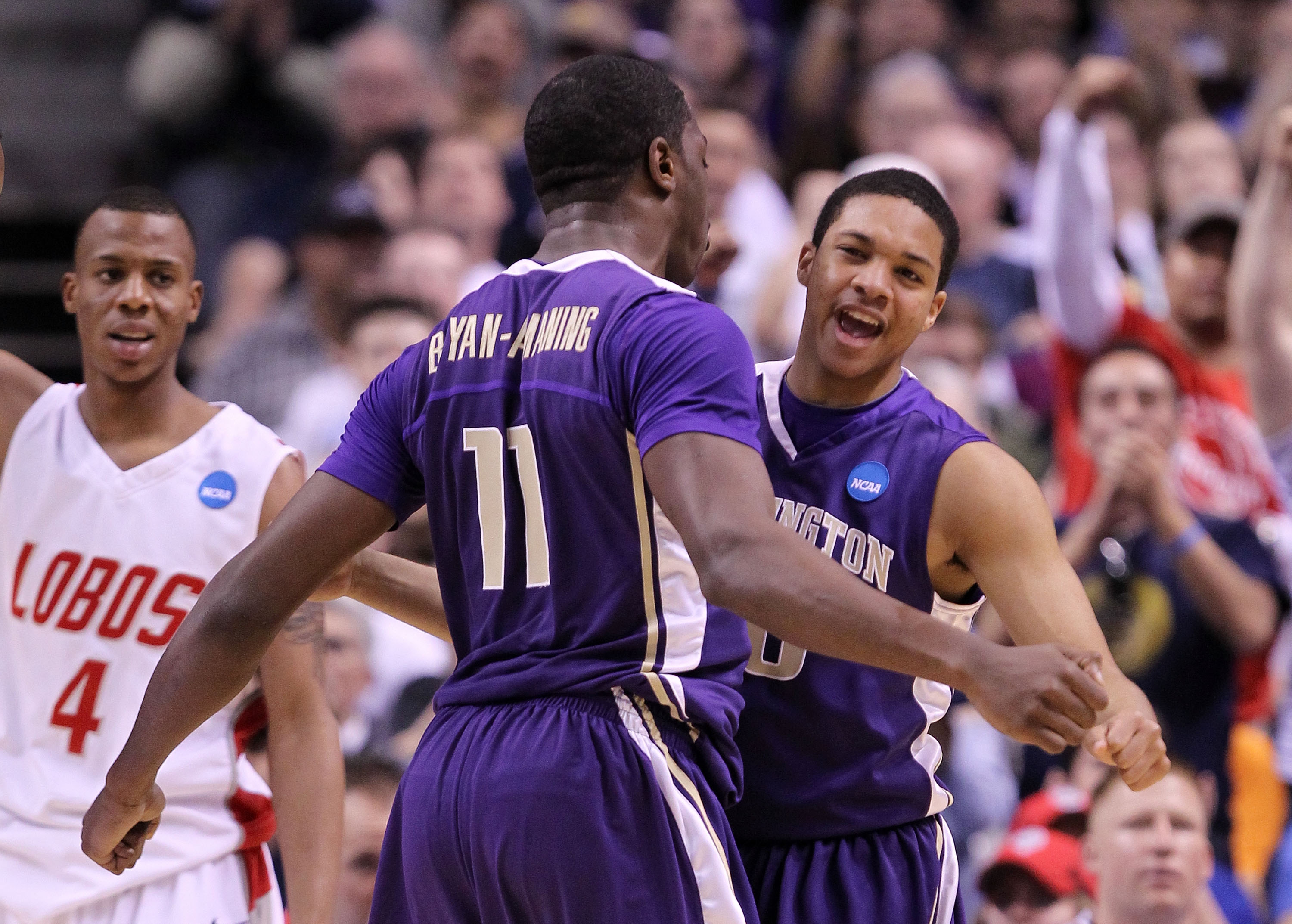SAN JOSE, CA - MARCH 20:  Forward Matthew Bryan-Amaning #11 and Abdul Gaddy #10 of the Washington Huskies celebrates after a play against the New Mexico Lobos during the second round of the 2010 NCAA men's basketball tournament at HP Pavilion on March 20,
