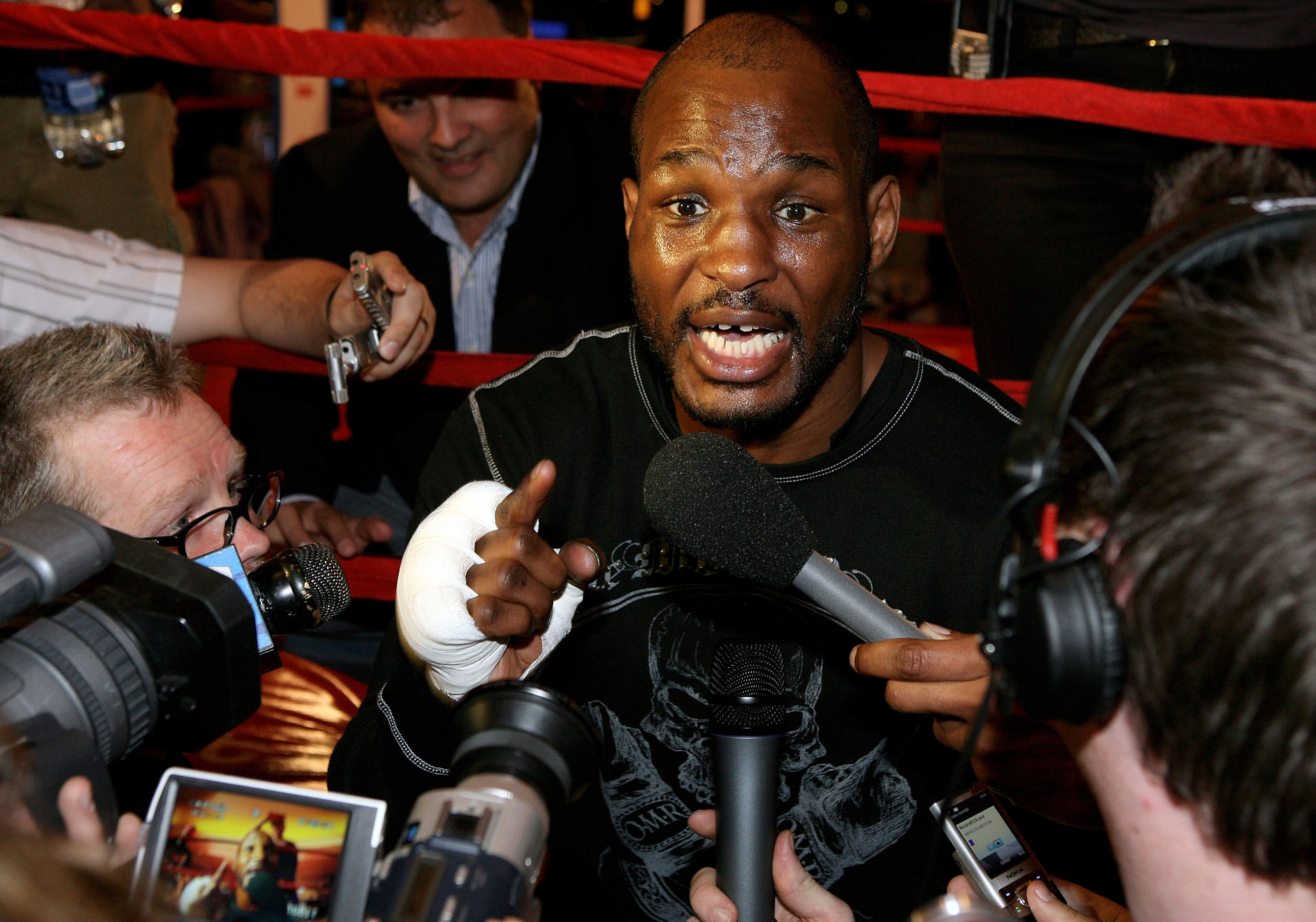 LAS VEGAS - APRIL 15:  Bernard Hopkins of the USA meets the media before his open workout  at Planet Hollywood Resort and Casino on April 15, 2008 in Las Vegas, Nevada.  (Photo by John Gichigi/Getty Images)