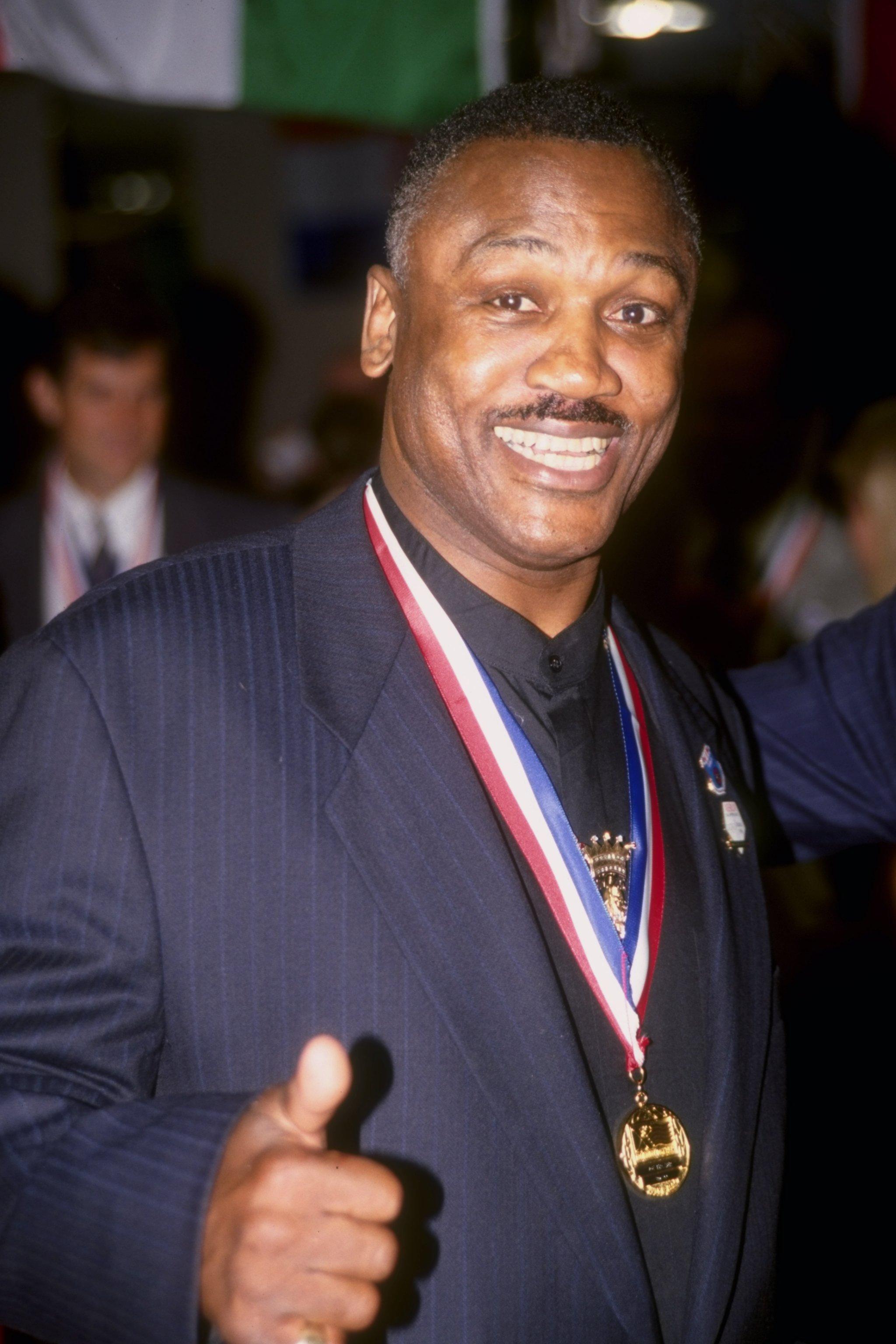 19 Jul 1996:  Former boxer Joe Frazier looks on at the Summer Olympics in Atlanta, Georgia. Mandatory Credit: Markus Boesch  /Allsport