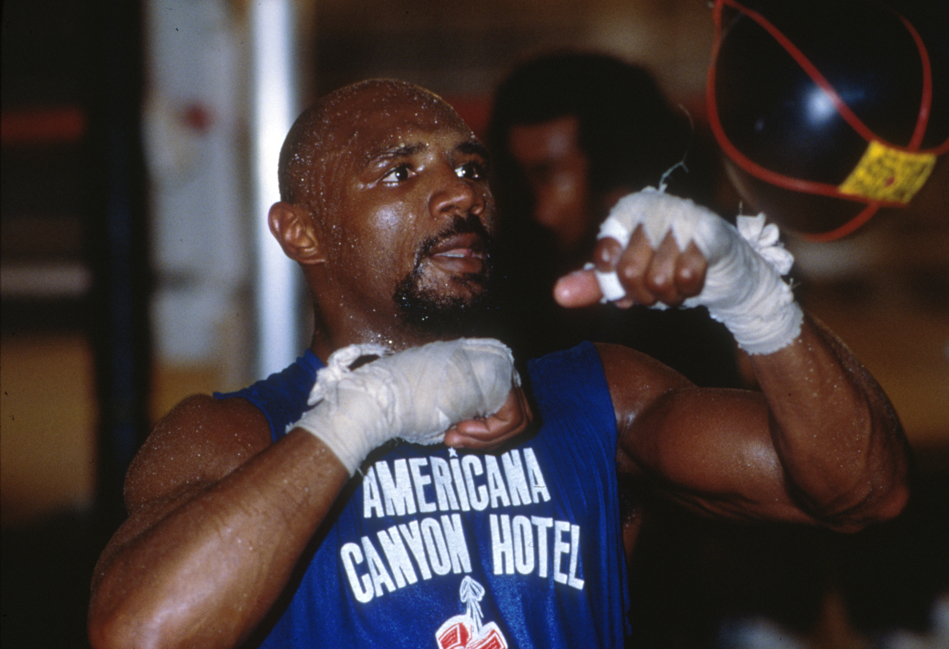 1990:  Marvin Hagler in training for his bout with Tommy Hearns. Mandatory Credit: David Cannon/ALLSPORT