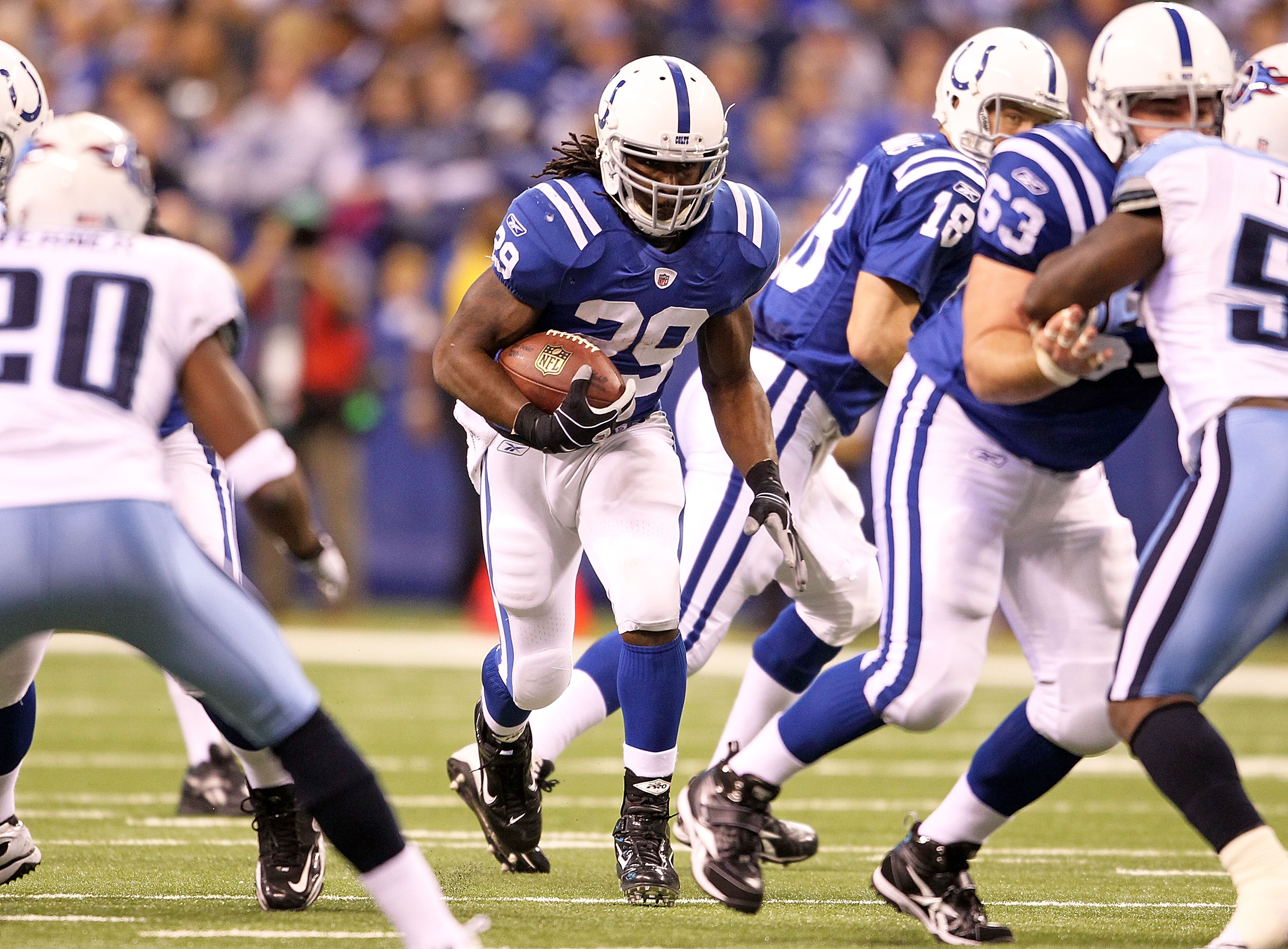 INDIANAPOLIS - JANUARY 02:  Joseph Addai  #29 of the Indianapolis Colts runs with the ball during NFL game against the Tennessee Titans at Lucas Oil Stadium on January 2, 2011 in Indianapolis, Indiana.  (Photo by Andy Lyons/Getty Images)
