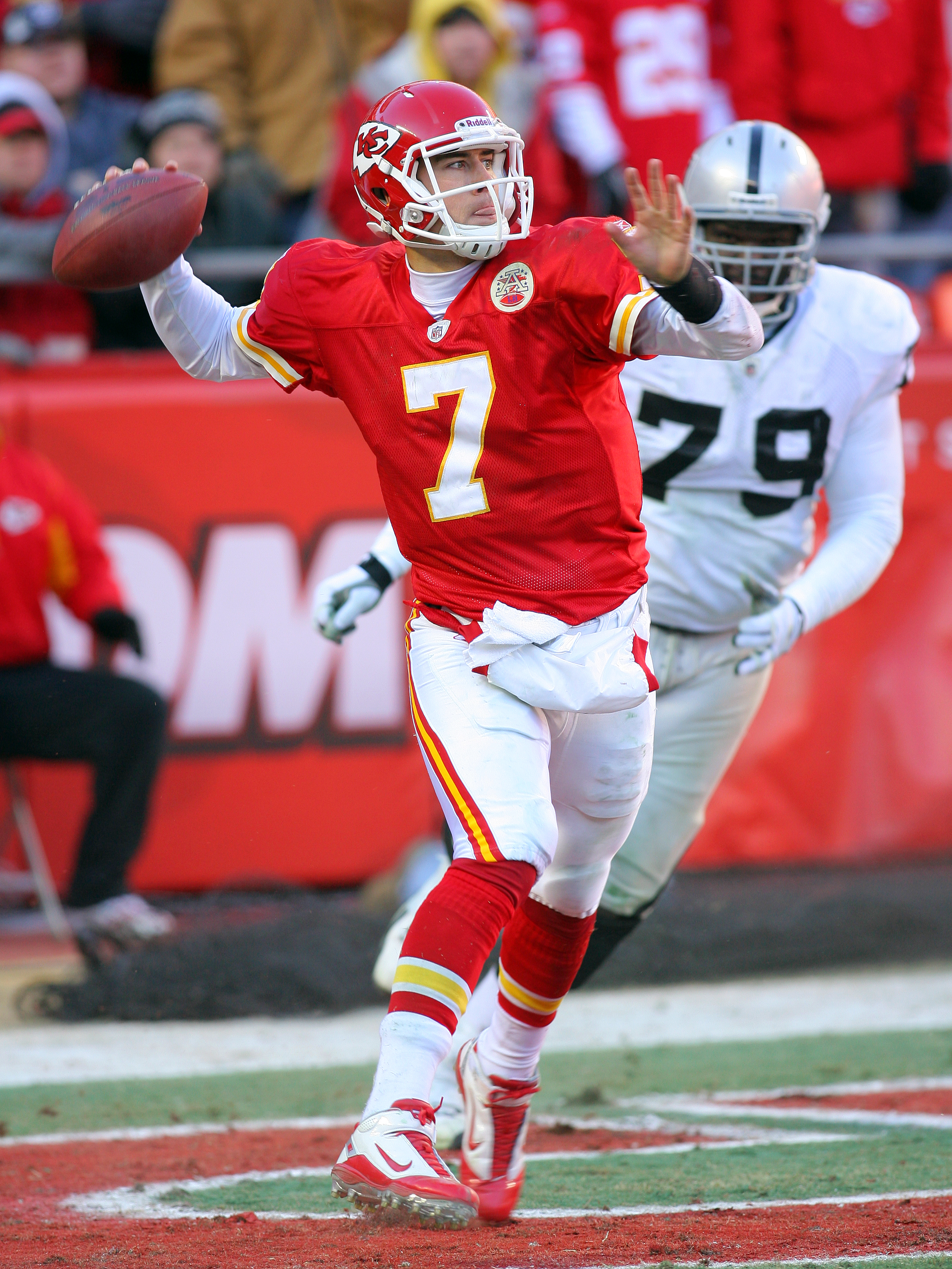 KANSAS CITY, MO - JANUARY 02:  Quarterback Matt Cassel #7 of the Kansas City Chiefs throws an interception in a game against the Oakland Raiders at Arrowhead Stadium on January 2, 2011 in Kansas City, Missouri.  The Raiders won 31-10 (Photo by Tim Umphrey