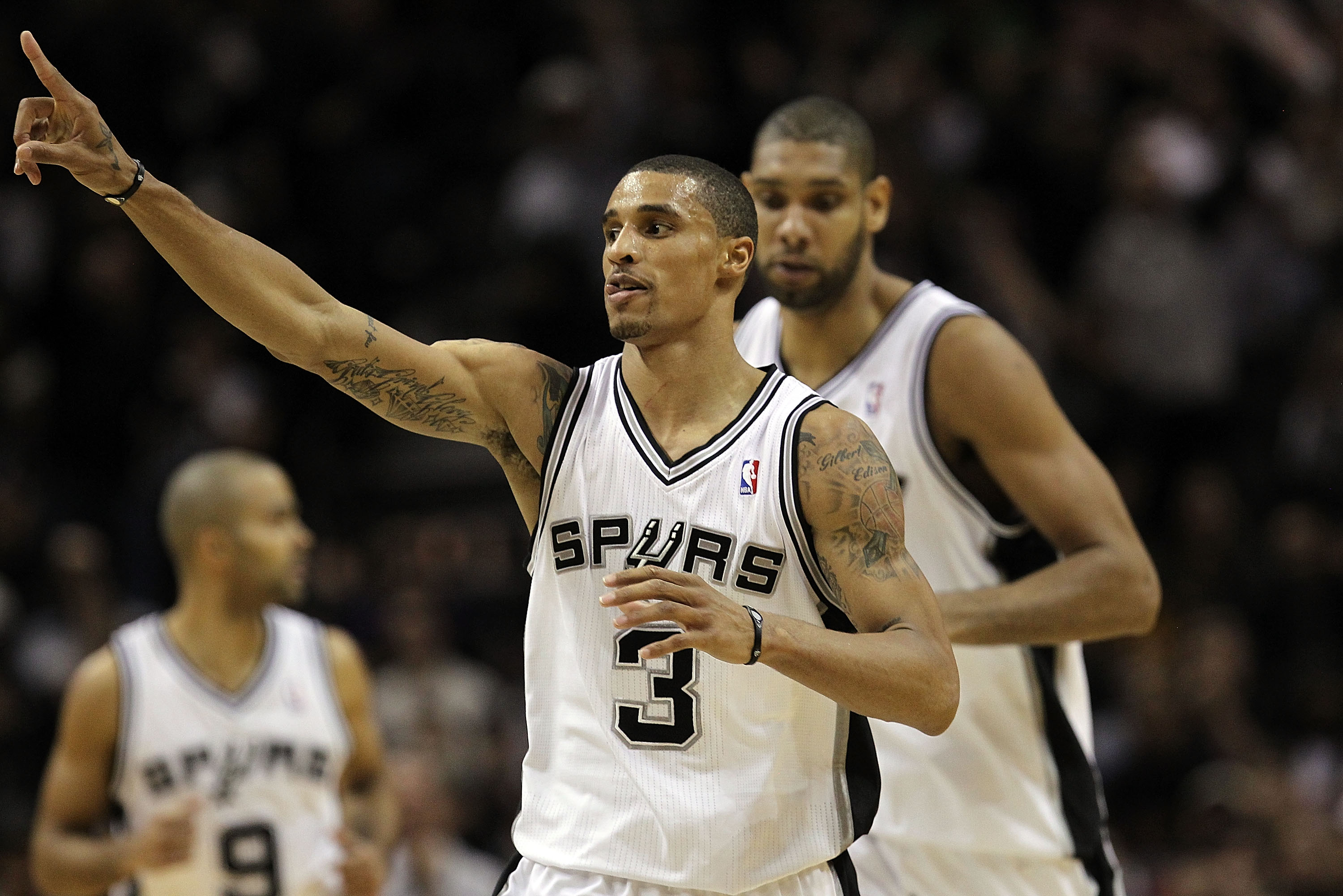 SAN ANTONIO, TX - DECEMBER 28:  Guard George Hill #3 of the San Antonio Spurs during play against the Los Angeles Lakers at AT&T Center on December 28, 2010 in San Antonio, Texas.  NOTE TO USER: User expressly acknowledges and agrees that, by downloading