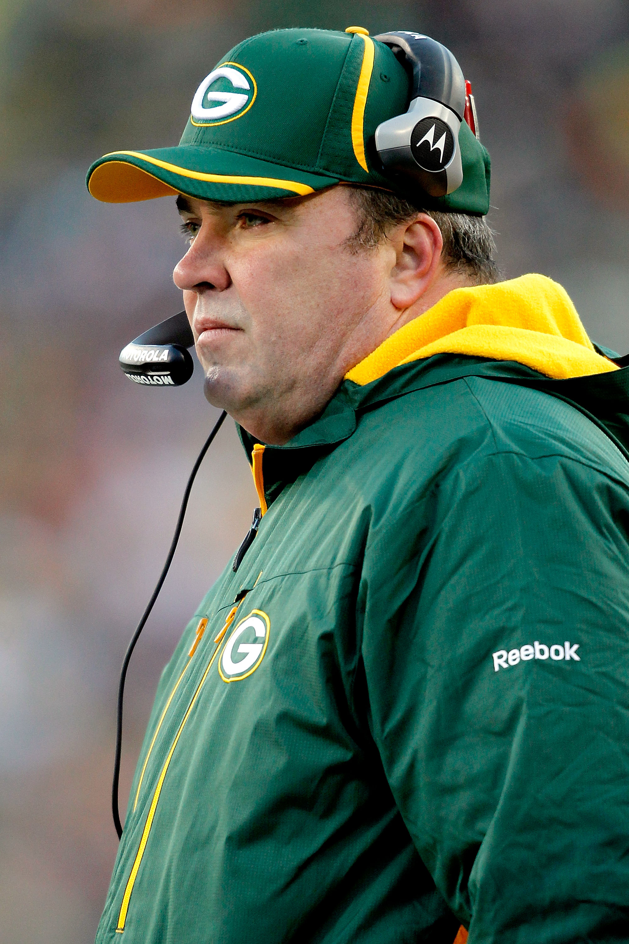 GREEN BAY, WI - JANUARY 02:  Head coach Mike McCarthy of the Green Bay Packers on the sidelines against the Chicago Bears at Lambeau Field on January 2, 2011 in Green Bay, Wisconsin.  (Photo by Matthew Stockman/Getty Images)
