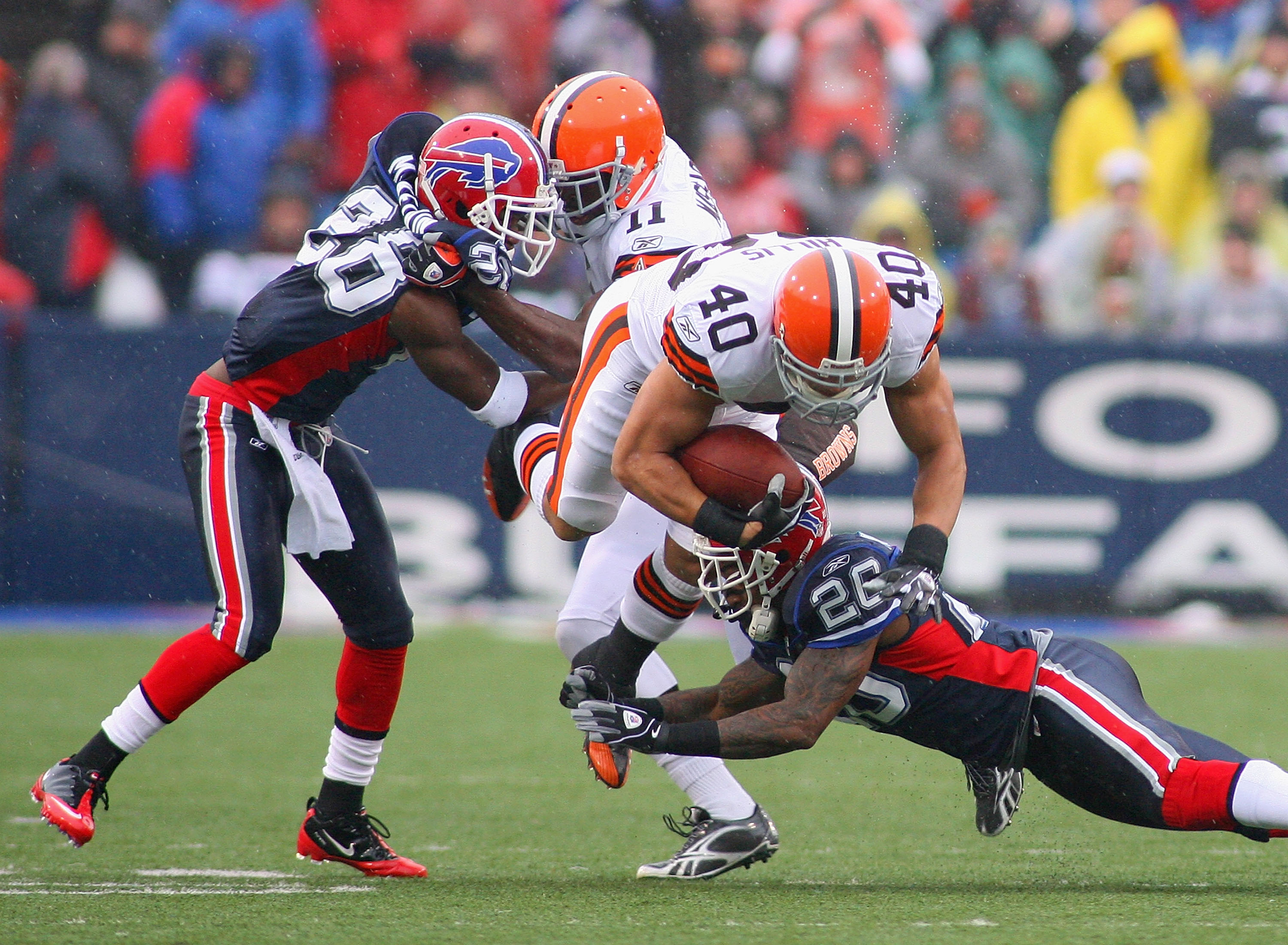 ORCHARD PARK, NY - DECEMBER 12: Peyton Hillis #41 of the Cleveland Browns is tackled by Ashton Youboty #26 of the Buffalo Bills  at Ralph Wilson Stadium on December 12, 2010 in Orchard Park, New York.  (Photo by Rick Stewart/Getty Images)