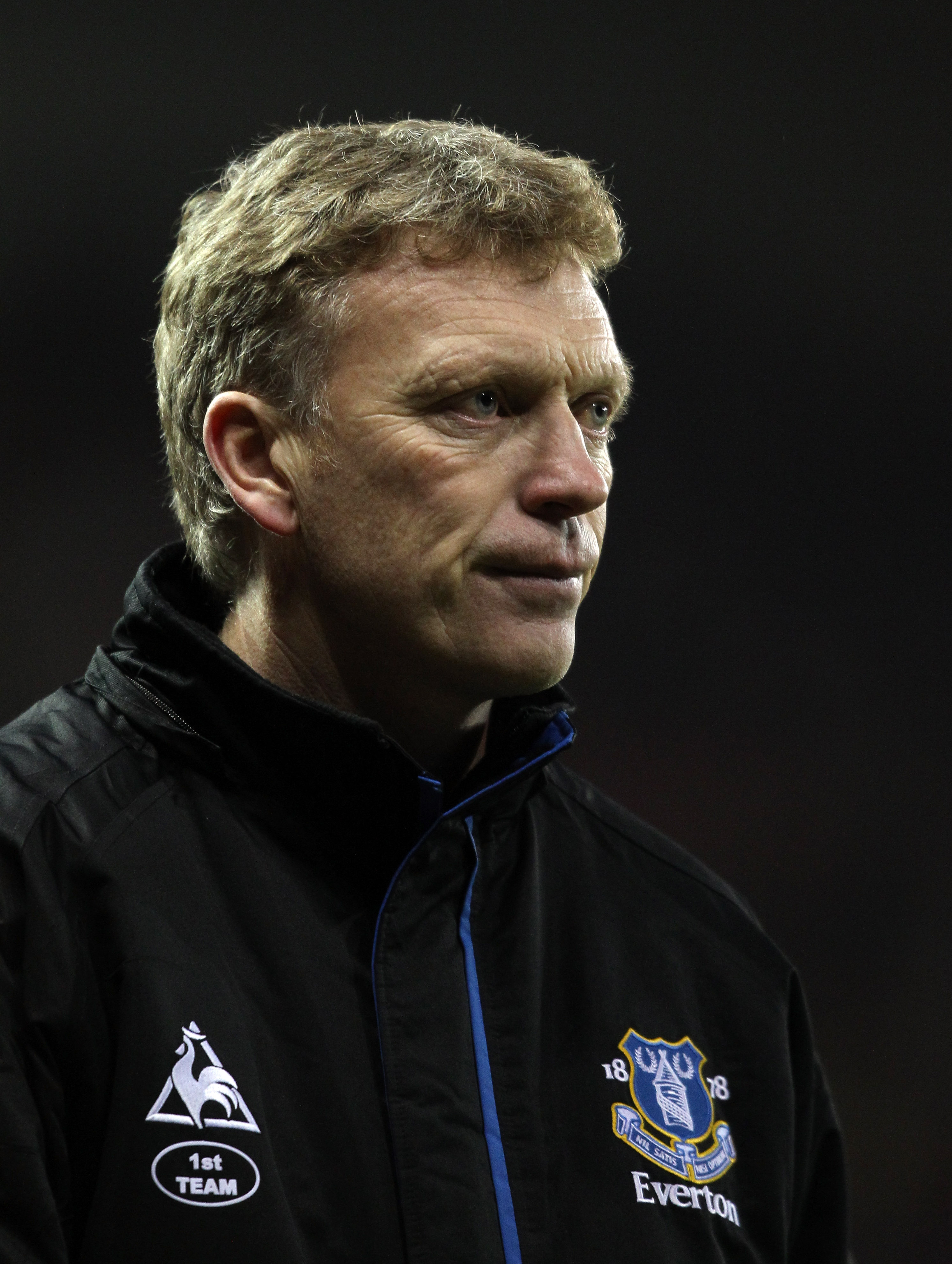 STOKE ON TRENT, ENGLAND - JANUARY 01:  David Moyes manager of Everton during the Barclays Premier League match between Stoke City and Everton at the Britannia Stadium on January 1, 2011 in Stoke on Trent, England.  (Photo by Ross Kinnaird/Getty Images)