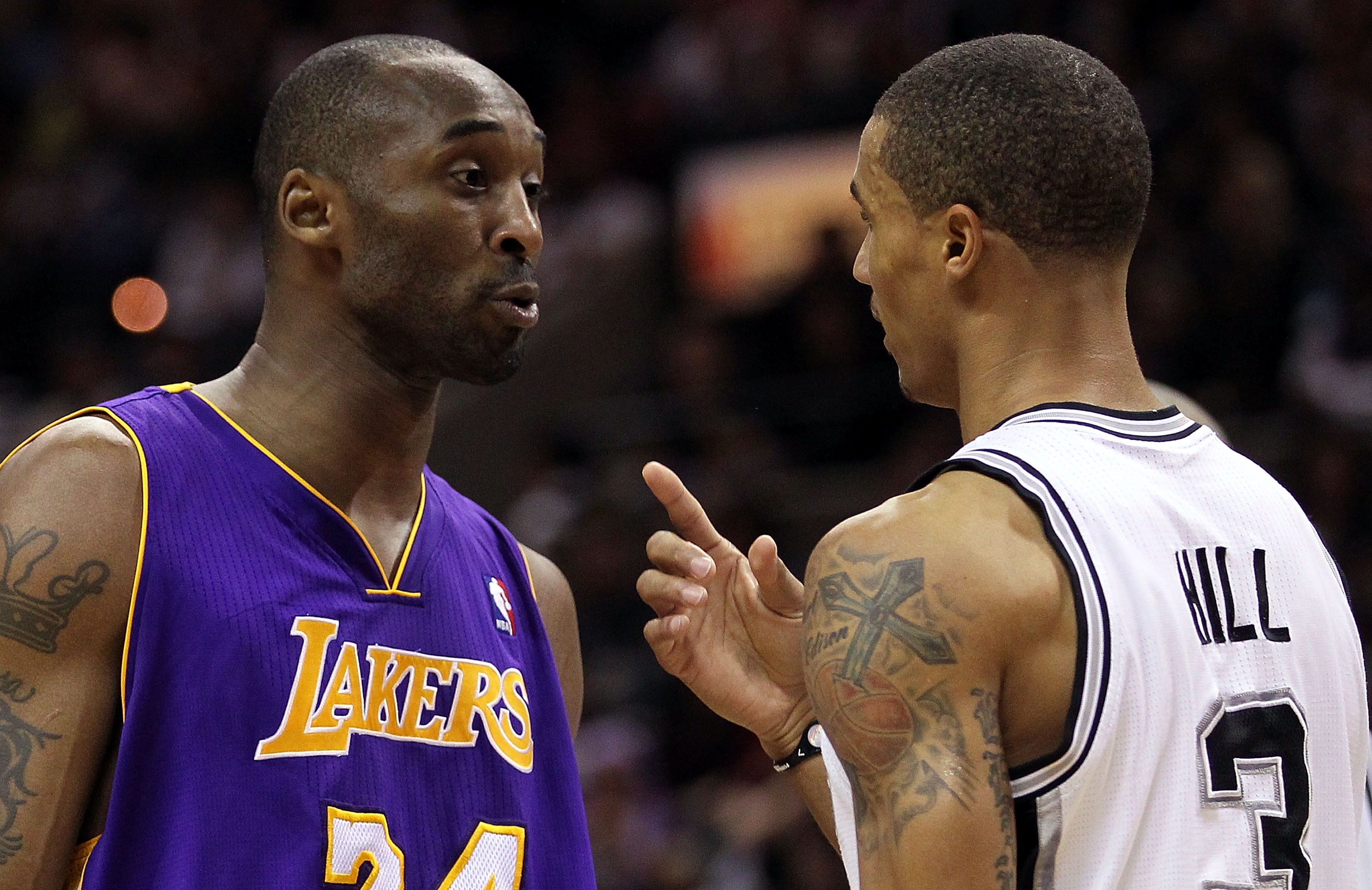 SAN ANTONIO, TX - DECEMBER 28:  Guard Kobe Bryant #24 of the Los Angeles Lakers and George Hill #3 of the San Antonio Spurs confront one another in the second quarter at AT&T Center on December 28, 2010 in San Antonio, Texas.  NOTE TO USER: User expressly