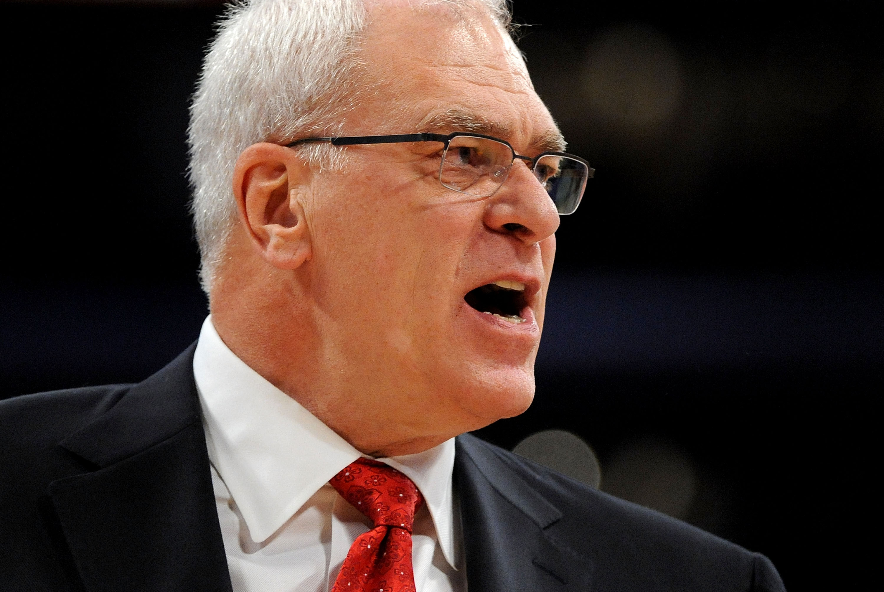 LOS ANGELES, CA - DECEMBER 25:  Head coach Phil Jackson of the Los Angeles Lakers reacts during the game against the Miami Heat at Staples Center on December 25, 2010 in Los Angeles, California. NOTE TO USER: User expressly acknowledges and agrees that, b