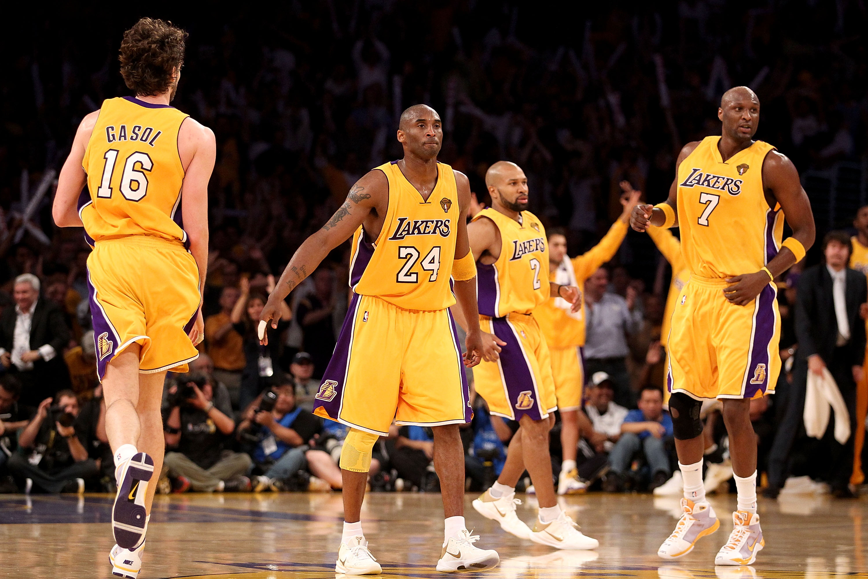 LOS ANGELES, CA - JUNE 17:  (L-R) Pau Gasol #16, Kobe Bryant #24, Derek Fisher #2 and Lamar Odom #7 of the Los Angeles Lakers run up court in Game Seven of the 2010 NBA Finals against the Boston Celtics at Staples Center on June 17, 2010 in Los Angeles, C