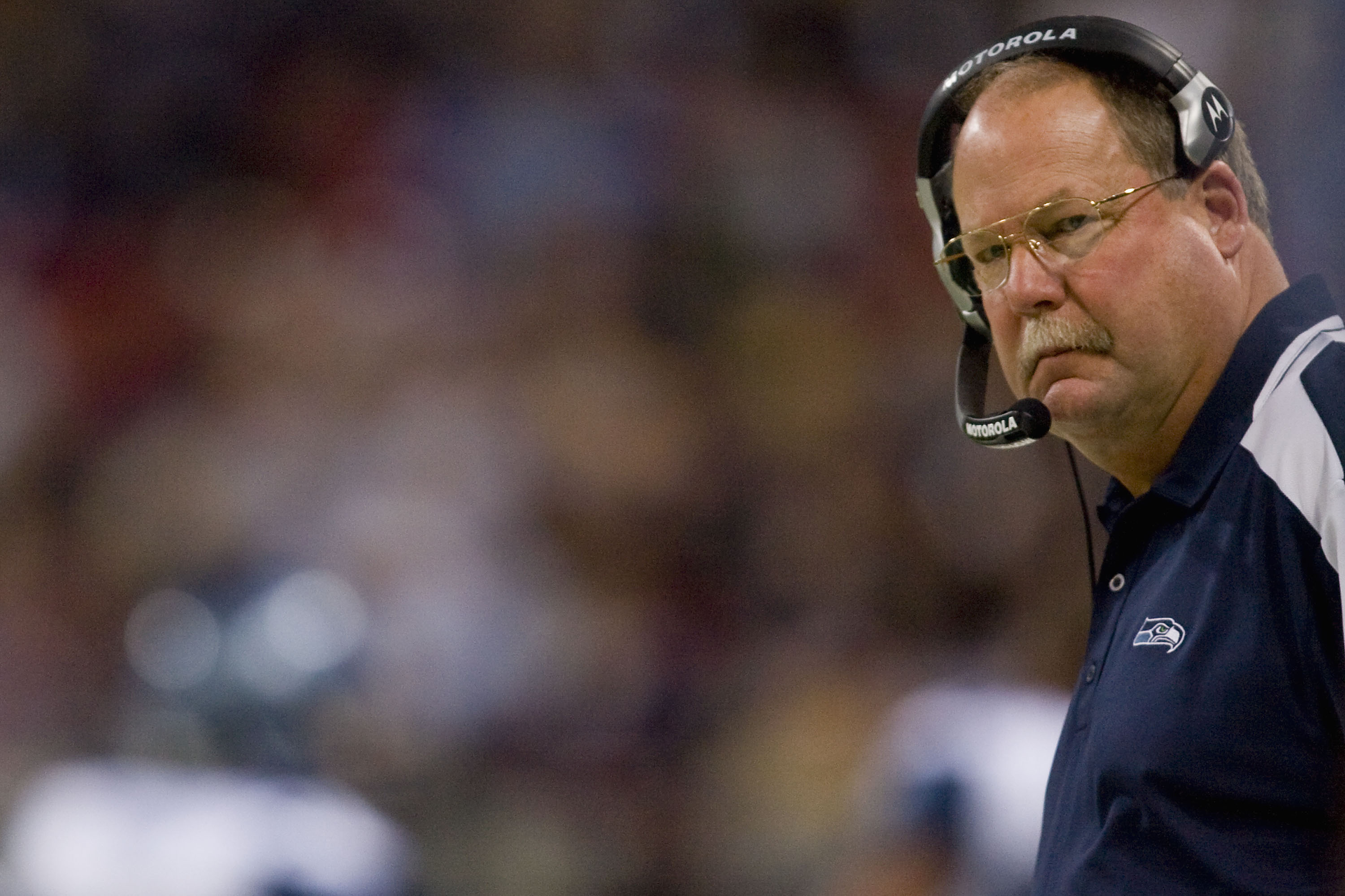 ST. LOUIS, MO - DECEMBER 14: Head coach Mike Holmgren of the Seattle Seahawks watches his team play against the St. Louis Rams at the Edward Jones Dome on December 14, 2008 in St. Louis, Missouri.  The Seahawks beat the Rams 23-20.  (Photo by Dilip Vishwa
