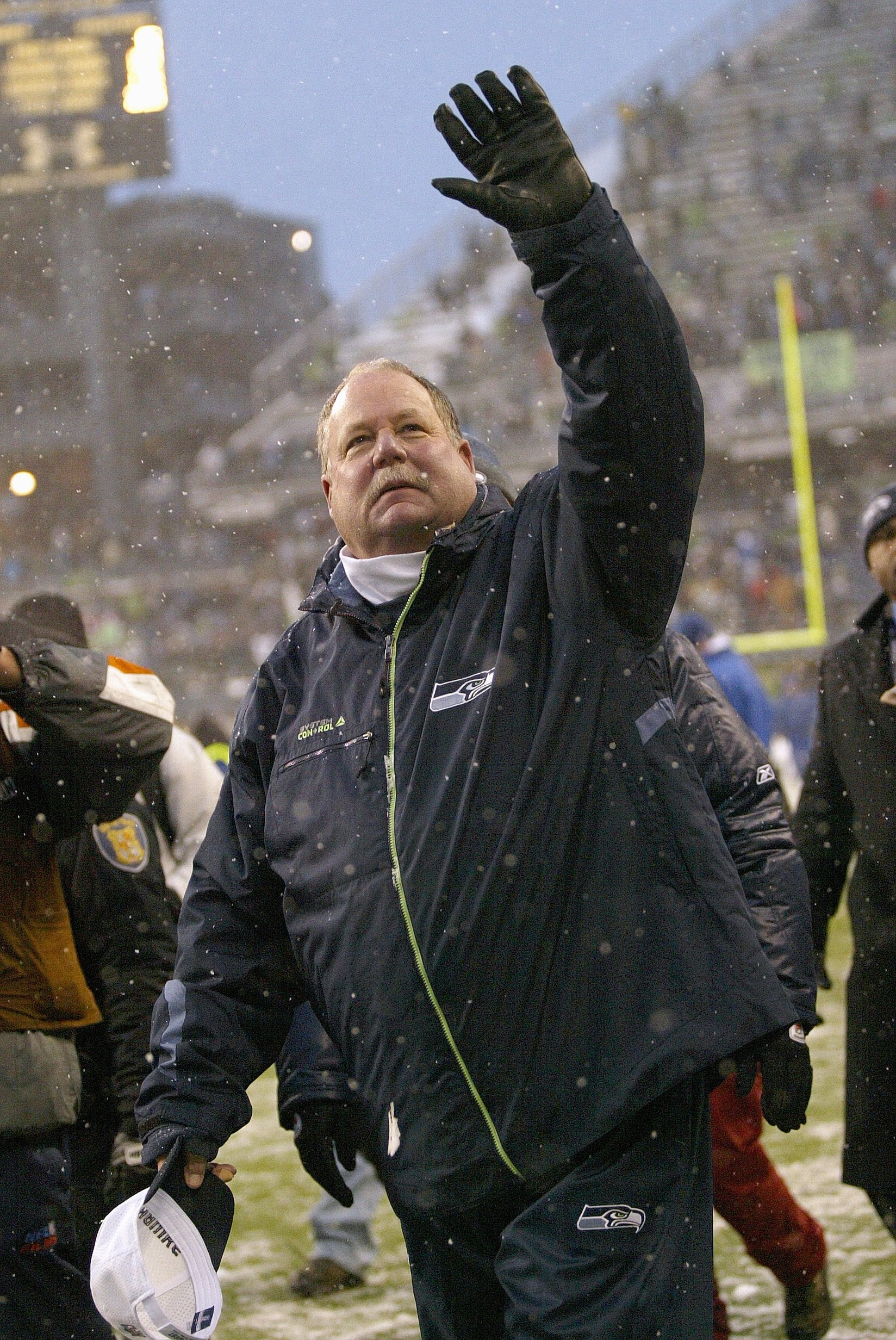 SEATTLE - DECEMBER 21: Head coach Mike Holmgrem of the Seattle Seahawks waves to fans after his final home game as head coach against the New York Jets on December 21, 2008 at Qwest Field in Seattle, Washington. The Seahawks defeated the Jets 13-3. (Photo