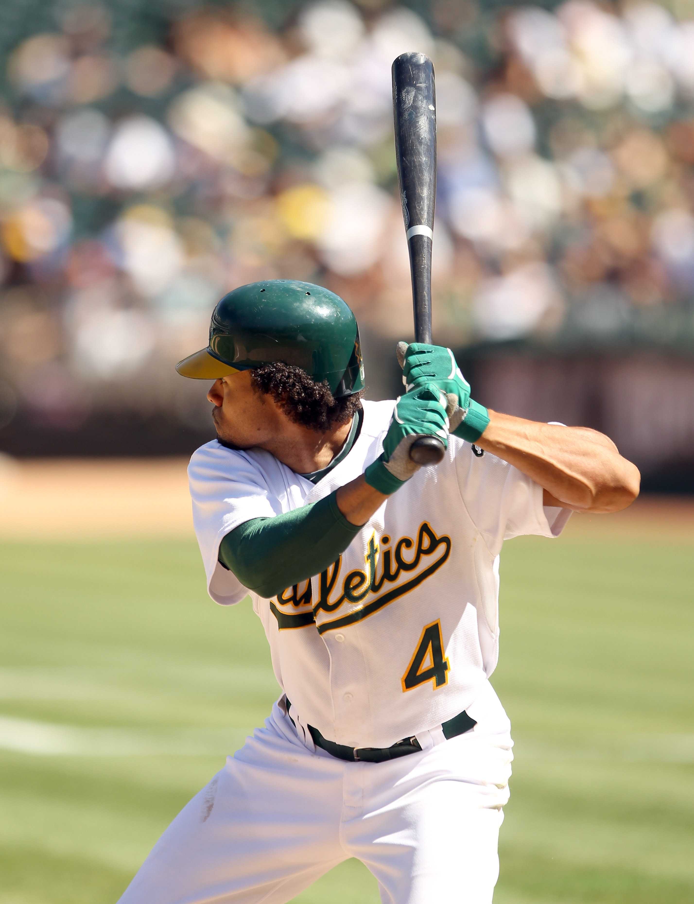OAKLAND, CA - SEPTEMBER 06:  Coco Crisp #4 of the Oakland Athletics bats against the Seattle Mariners at the Oakland-Alameda County Coliseum on September 6, 2010 in Oakland, California.  (Photo by Ezra Shaw/Getty Images)