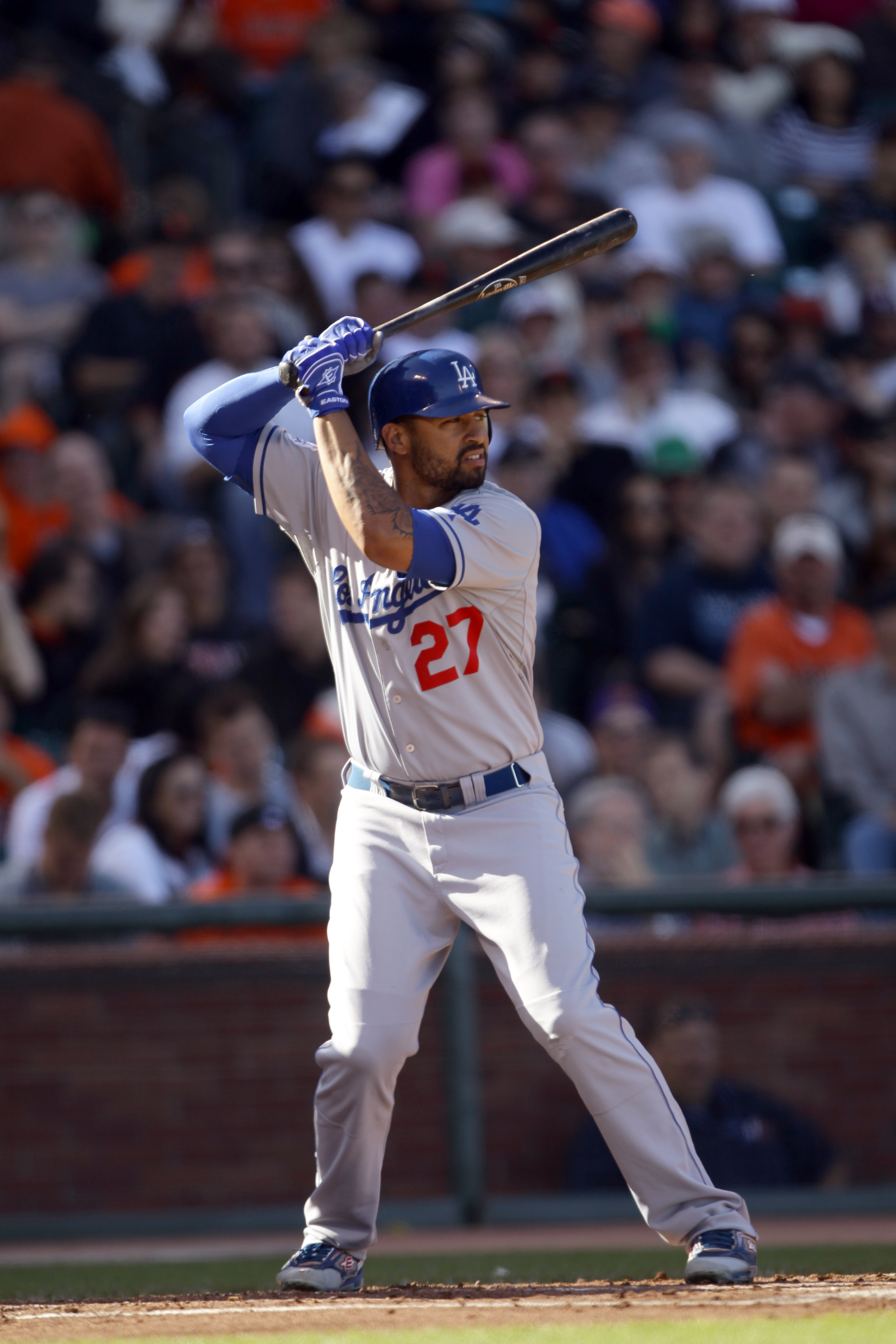 SAN FRANCISCO - AUGUST 01:  Matt Kemp #27 of the Los Angeles Dodgers bats against the San Francisco Giants at AT&T Park on August 1, 2010 in San Francisco, California.  (Photo by Ezra Shaw/Getty Images)