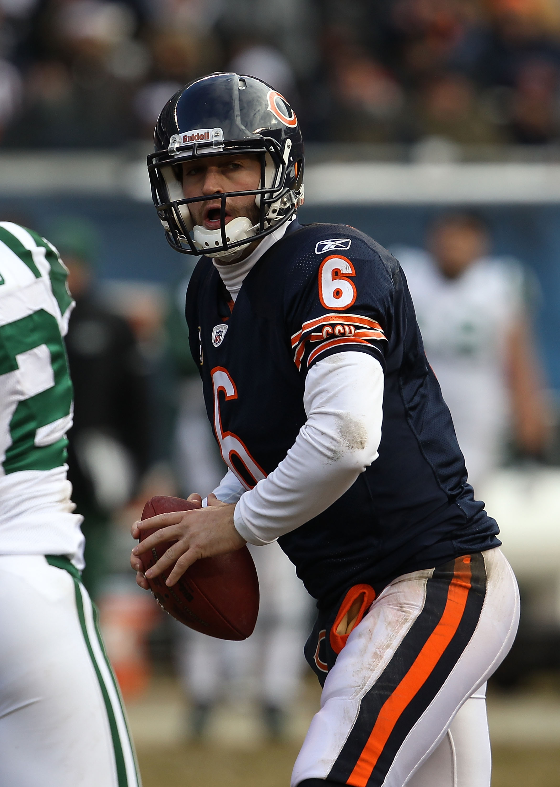 CHICAGO, IL - DECEMBER 26: Jay Cutler #6 of the Chicago Bears looks for a receiver against the New York Jets at Soldier Field on December 26, 2010 in Chicago, Illinois. The Bears defeated the Jets 38-34.  (Photo by Jonathan Daniel/Getty Images)