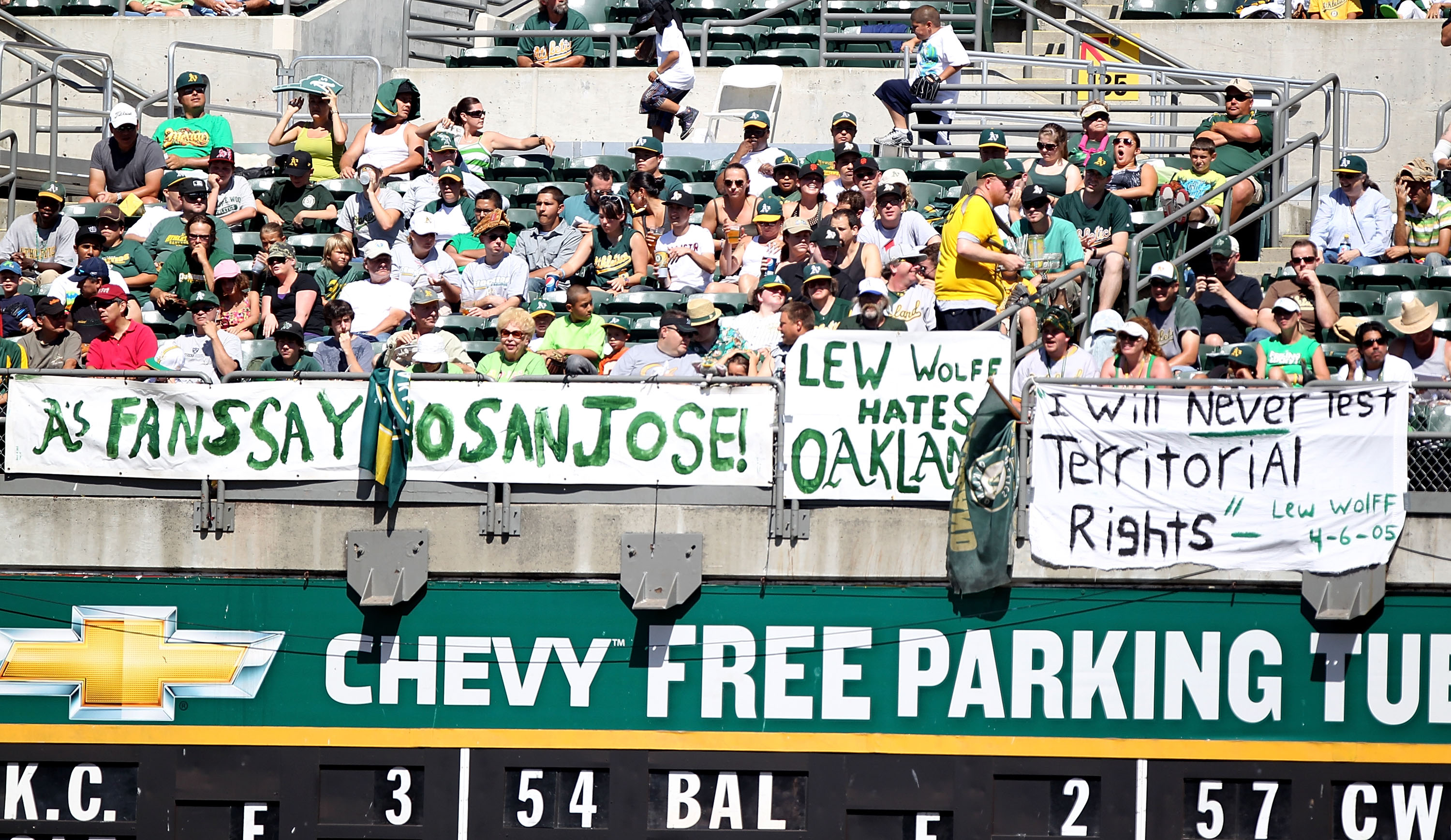 OAKLAND, CA - SEPTEMBER 26:  Fans of the Oakland Athletics look on against the Texas Rangers during a Major League Baseball game at the Oakland-Alameda County Coliseum on September 26, 2010 in Oakland, California. (Photo by Jed Jacobsohn/Getty Images)