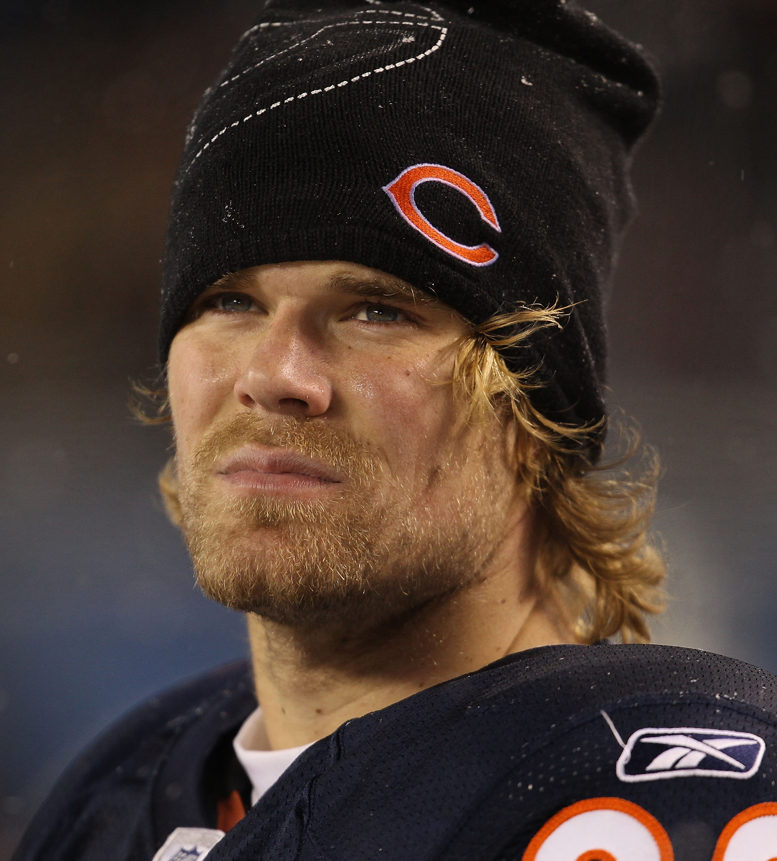 CHICAGO - DECEMBER 12: Greg Olsen #82 of the Chicago Bears waits on the sidelines for the final seconds of a game against the New England Patriots at Soldier Field on December 12, 2010 in Chicago, Illinois. The Patriots defeated the Bears 36-7. (Photo by
