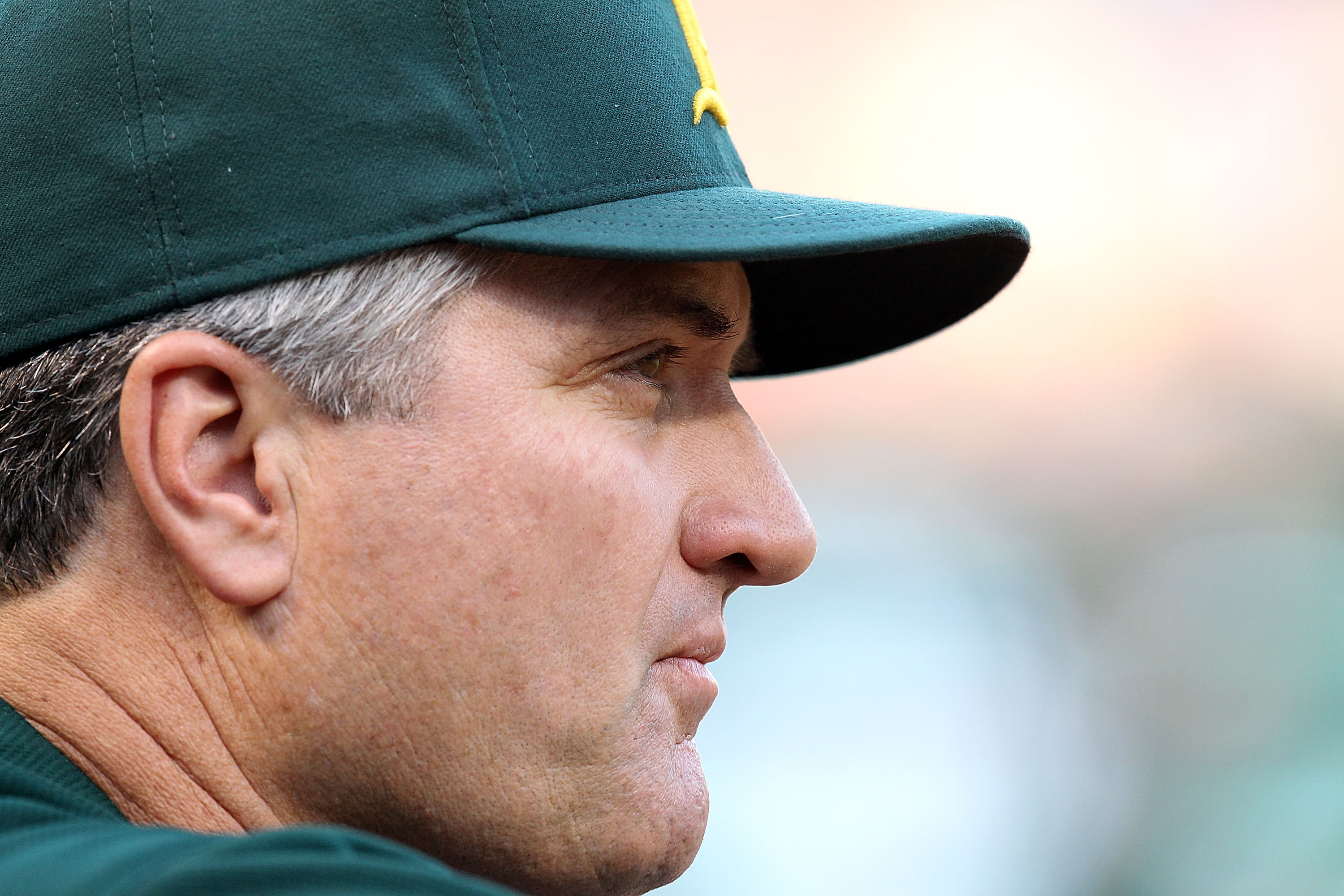 ARLINGTON, TX - JULY 29:  Manager Bob Geren #17 of the Oakland Athletics on July 29, 2010 at Rangers Ballpark in Arlington, Texas.  (Photo by Ronald Martinez/Getty Images)