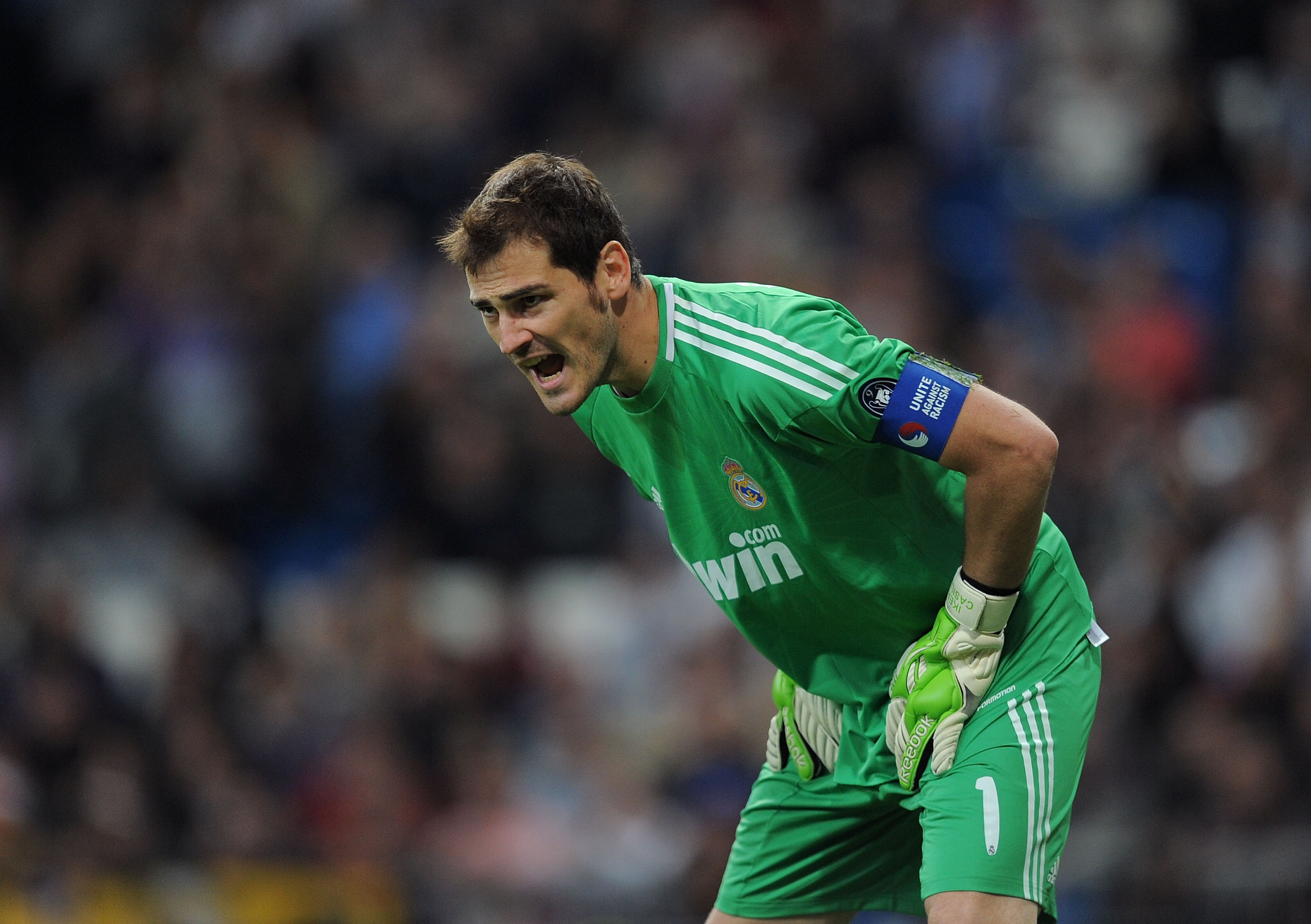 MADRID, SPAIN - OCTOBER 19: Iker Casillas of Real Madrid urges on his side during the UEFA Champions League Group G match between Real Madrid and AC Milan at Estadio Santiago Bernabeu on October 19, 2010 in Madrid, Spain.  (Photo by Denis Doyle/Getty Imag