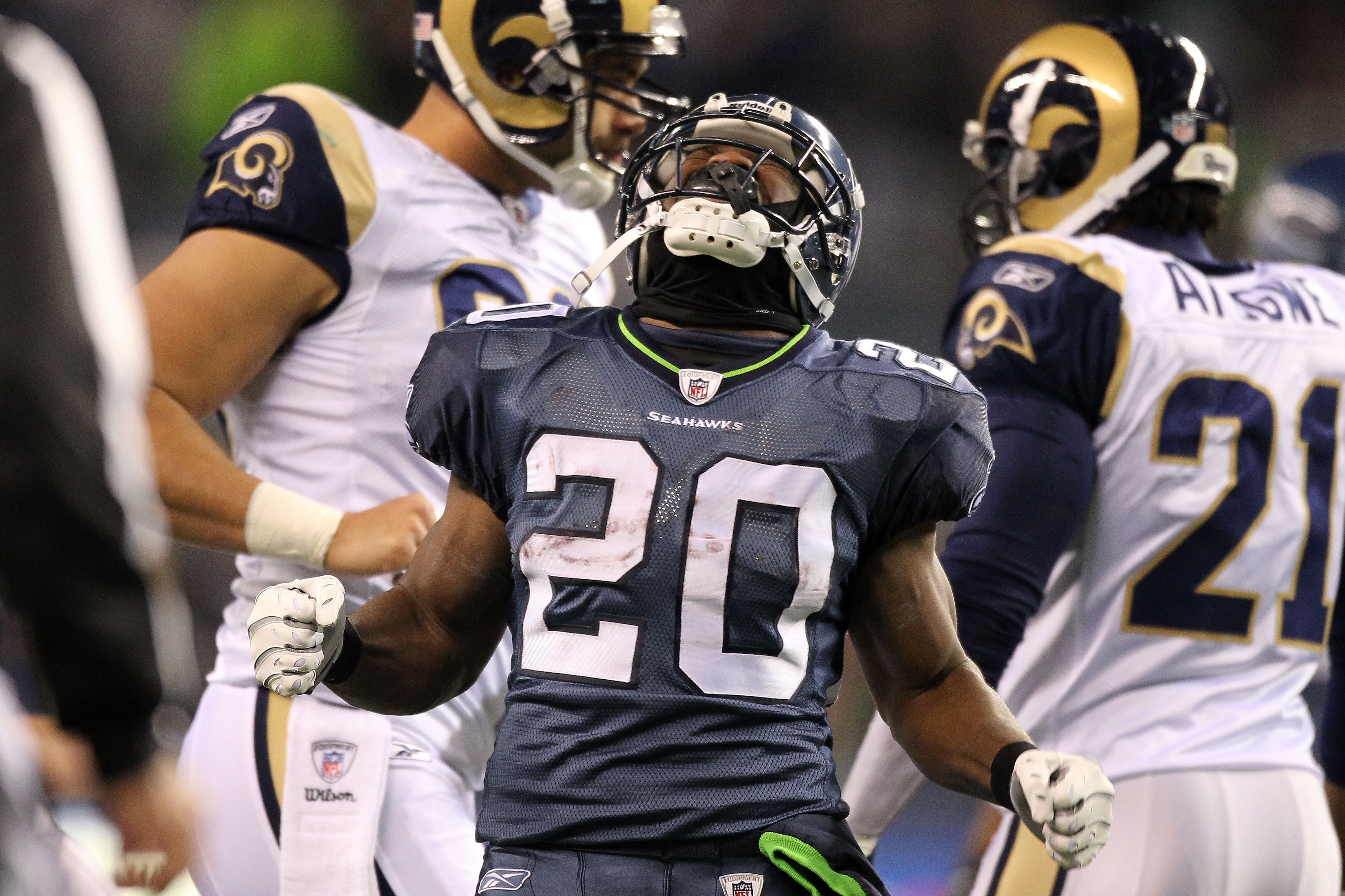 SEATTLE, WA - JANUARY 02:  Running back Justin Forsett #20 of the Seattle Seahawks celebrates after a run against the St. Louis Rams during their game at Qwest Field on January 2, 2011 in Seattle, Washington.  (Photo by Otto Greule Jr/Getty Images)