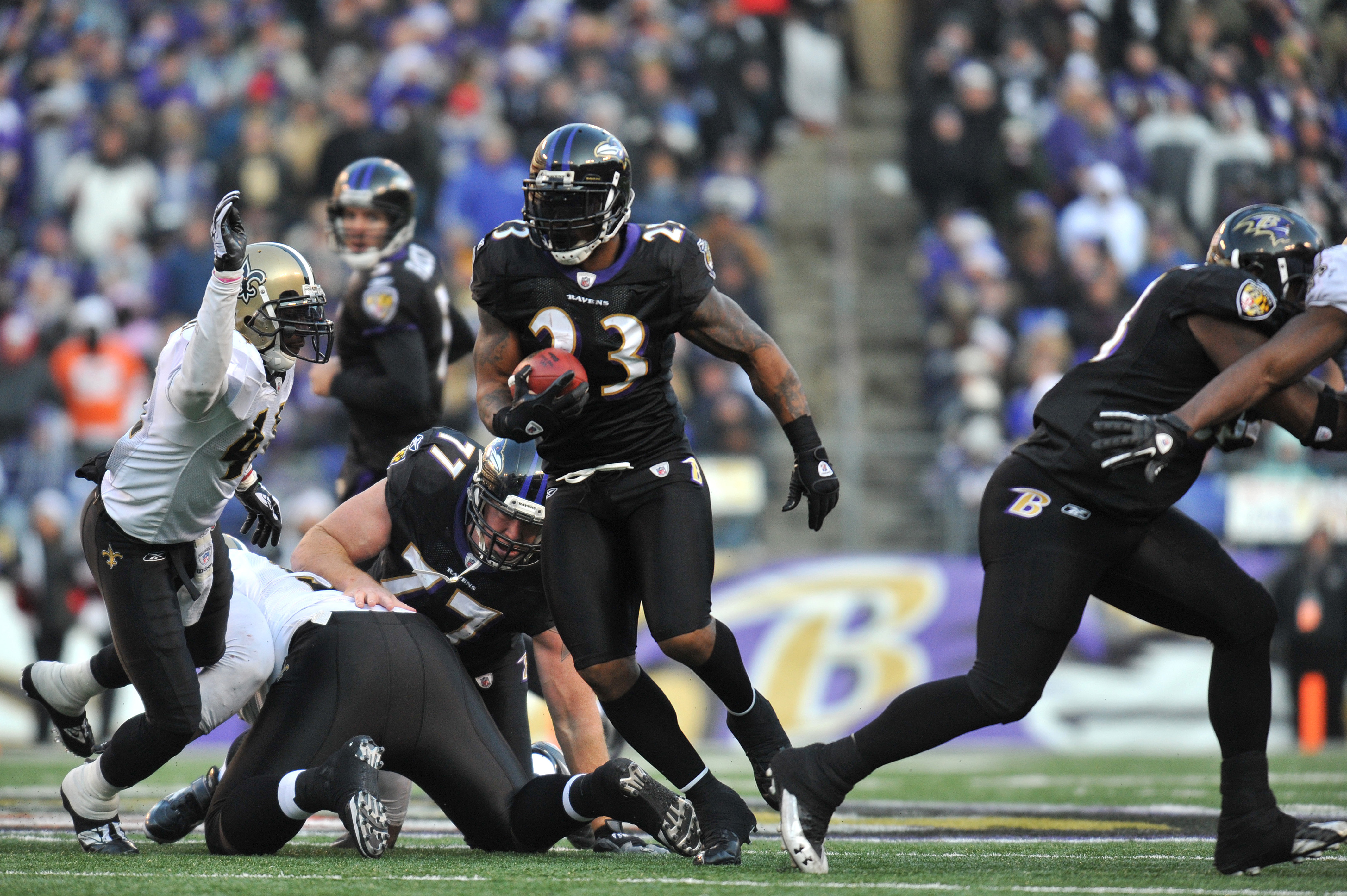 BALTIMORE, MD - DECEMBER 19:  Willis McGahee #23 of the Baltimore Ravens runs the ball during the game against the New Orleans Saints  at M&T Bank Stadium on December 19, 2010 in Baltimore, Maryland. The Ravens defeated the Saints 30-24. (Photo by Larry F