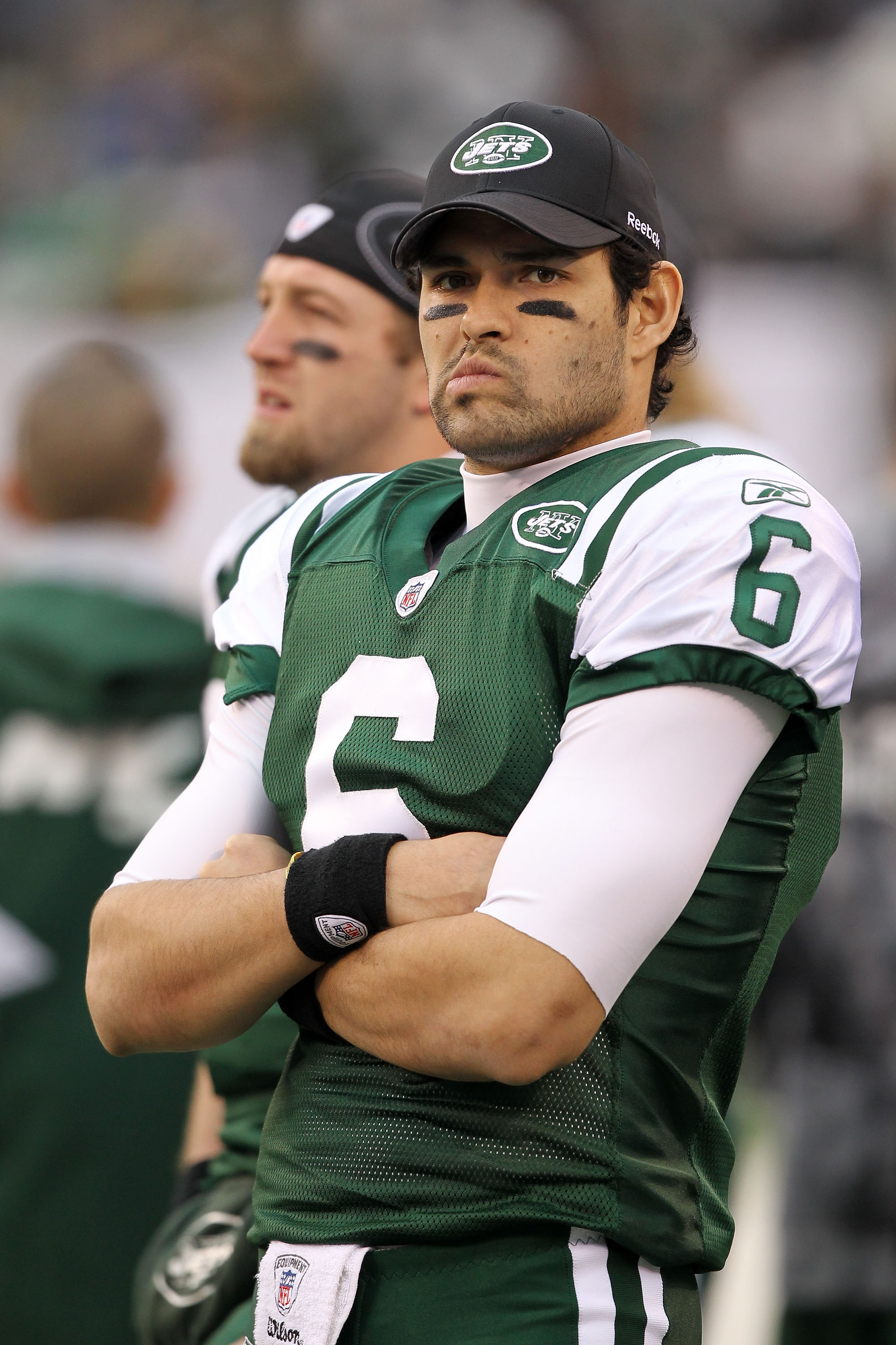 EAST RUTHERFORD, NJ - JANUARY 02:  Mark Sanchez #6 of the New York Jets reacts on the side lines during their game against the Buffalo Bills at New Meadowlands Stadium on January 2, 2011 in East Rutherford, New Jersey.  (Photo by Al Bello/Getty Images)