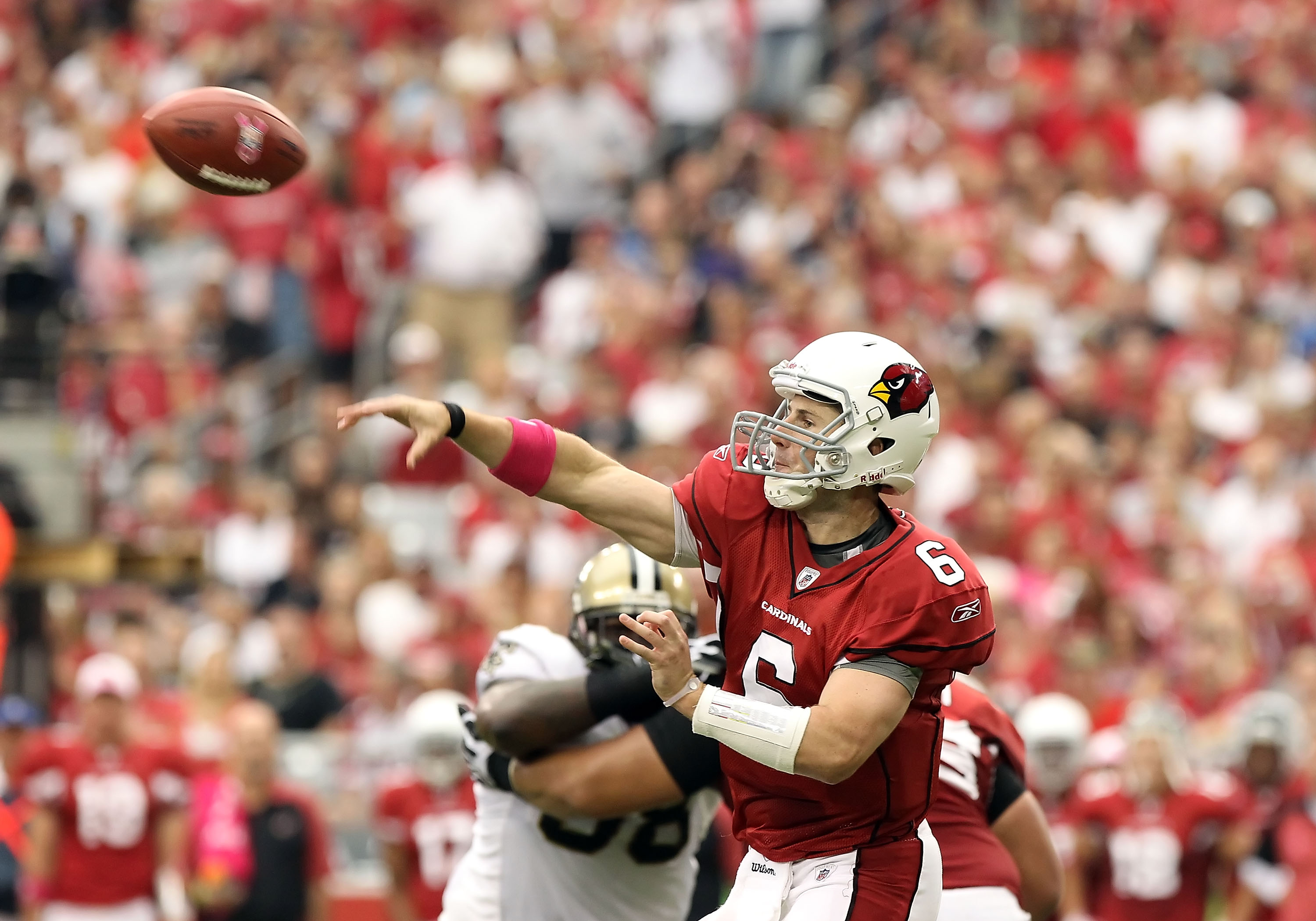 GLENDALE, AZ - OCTOBER 10:  Quarterback Max Hall #6 of the Arizona Cardinals throws a pass during the NFL game against the New Orleans Saints at the University of Phoenix Stadium on October 10, 2010 in Glendale, Arizona.  (Photo by Christian Petersen/Gett