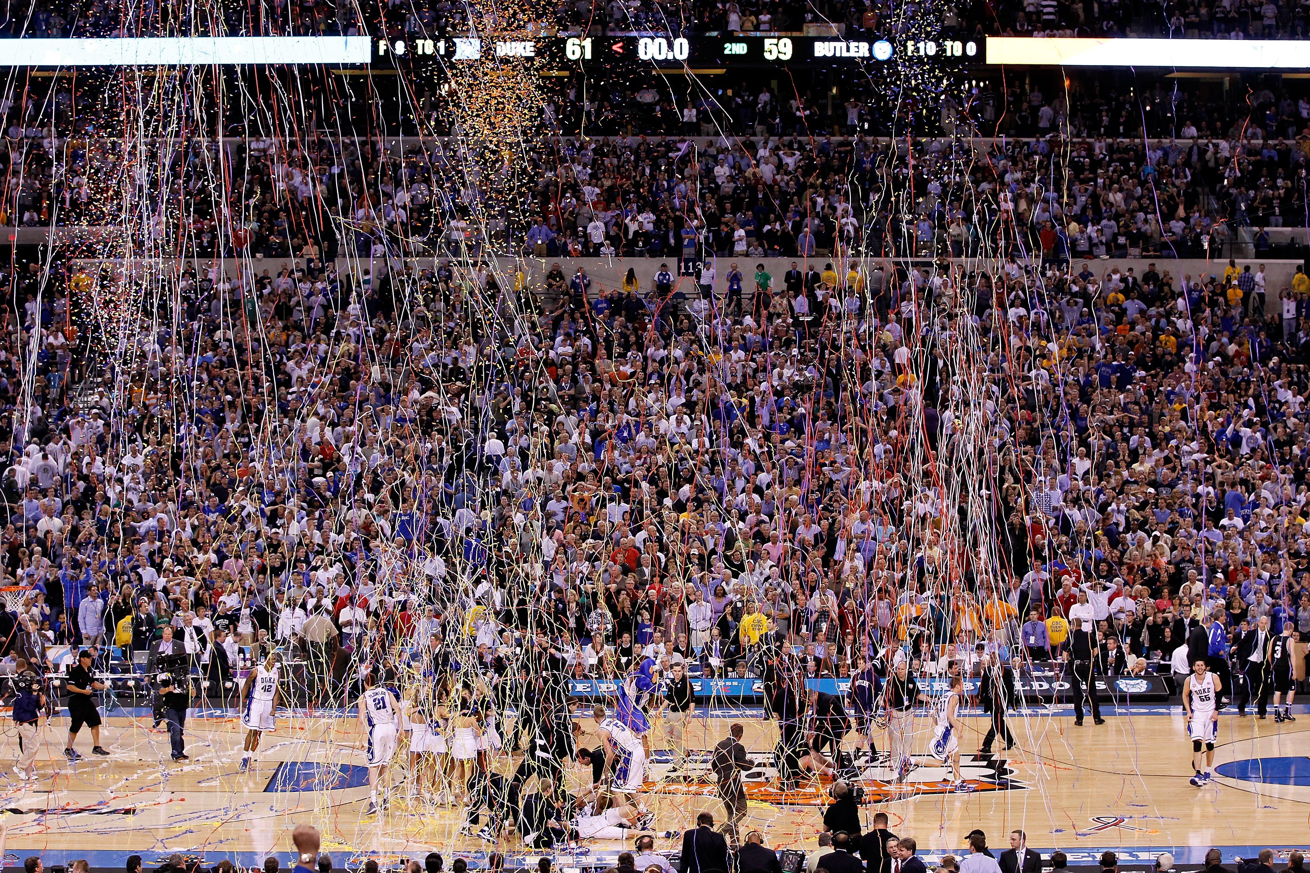 INDIANAPOLIS - APRIL 05:  Confetti falls as the Duke Blue Devils celebrate after they won 61-59 against the Butler Bulldogs during the 2010 NCAA Division I Men's Basketball National Championship game at Lucas Oil Stadium on April 5, 2010 in Indianapolis,