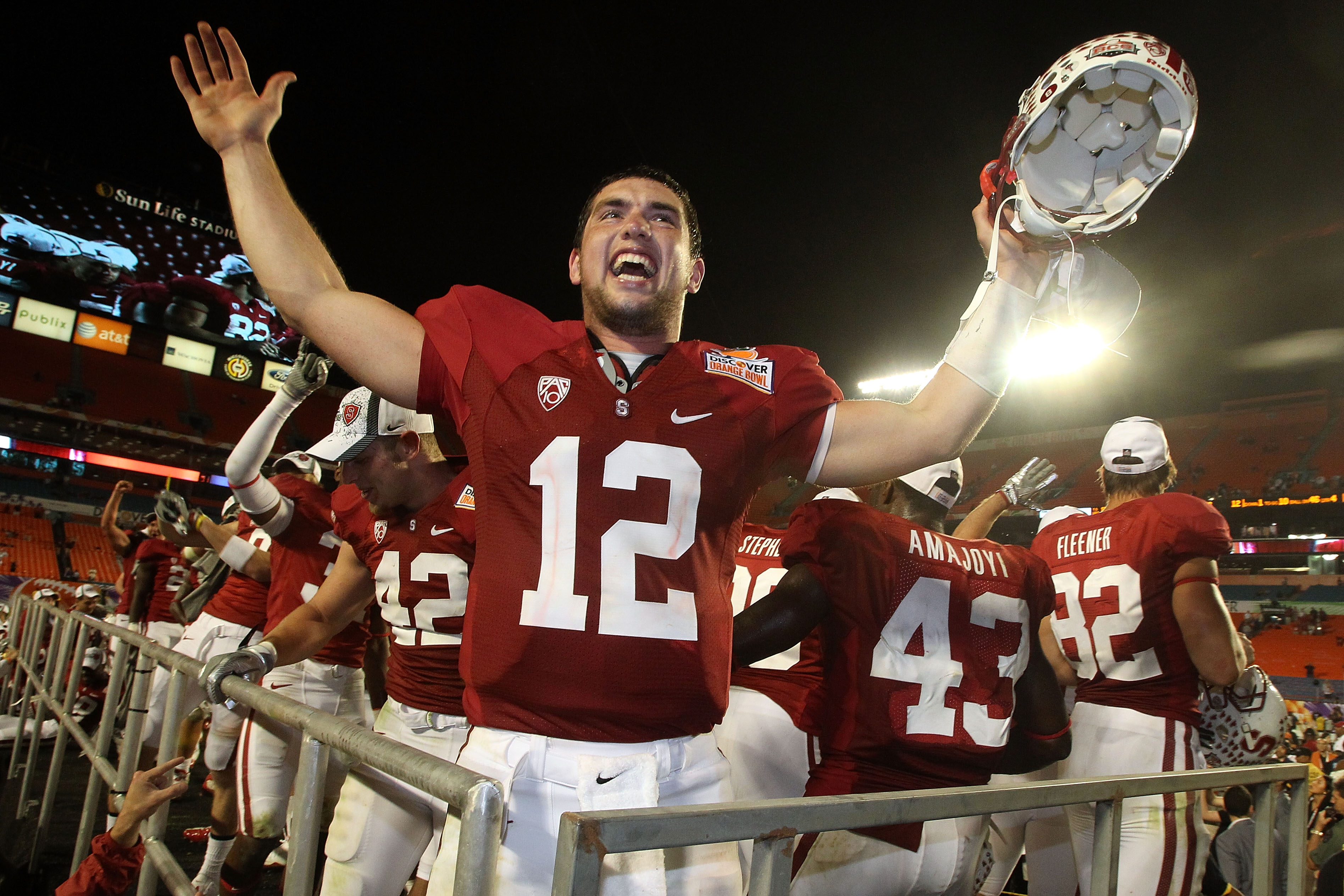MIAMI, FL - JANUARY 03: Orange bowl MVP Andrew Luck #12 of the Stanford Cardinal celebrates after Stanford won 40-12 against the Virginia Tech Hokies during the 2011 Discover Orange Bowl at Sun Life Stadium on January 3, 2011 in Miami, Florida. (Photo by