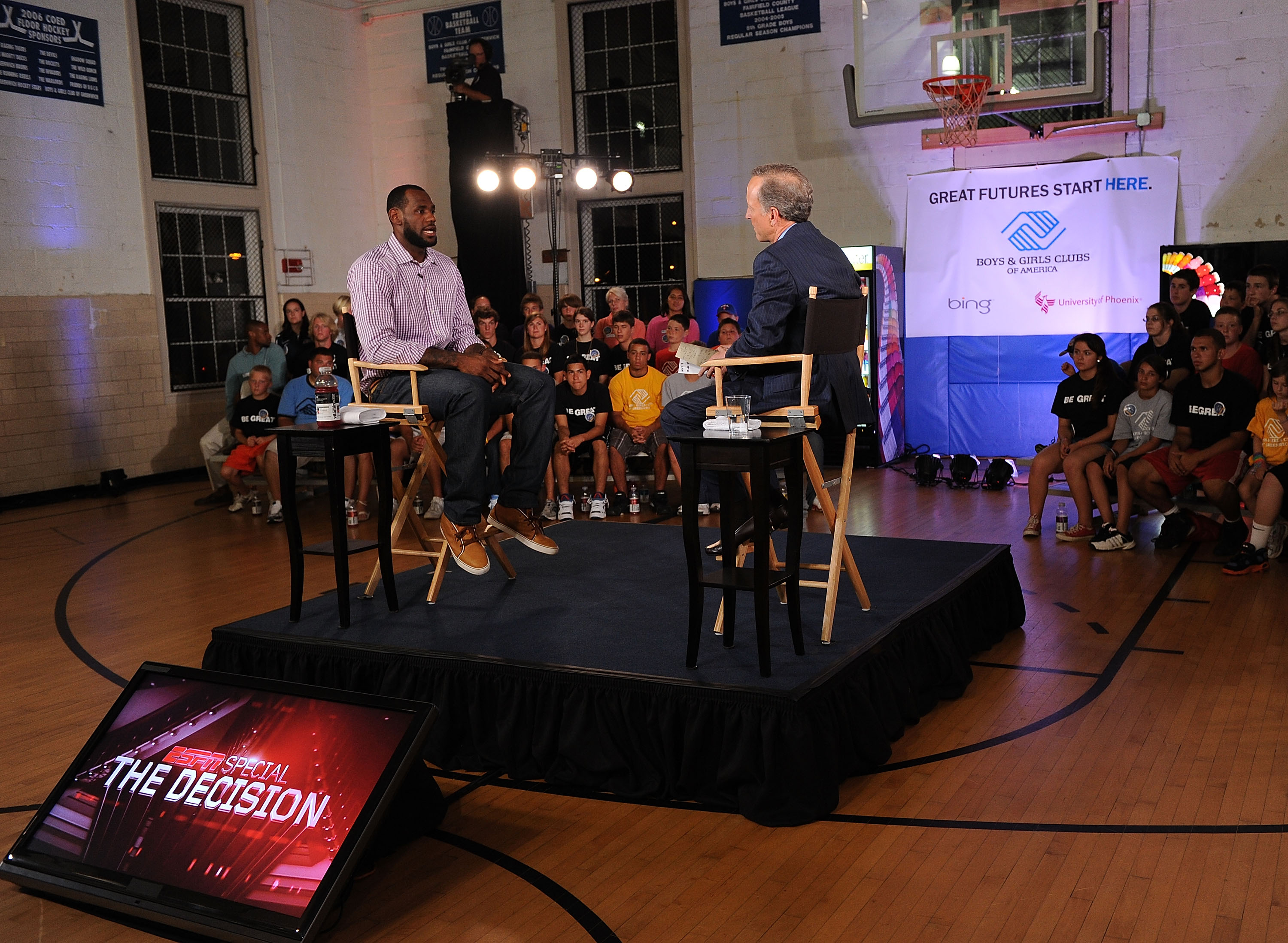 GREENWICH, CT - JULY 08:  LeBron James and ESPN's Jim Gray speak at the LeBron James announcement of his future NBA plans at the  Boys & Girls Club of America on July 8, 2010 in Greenwich, Connecticut. James announced during a live broadcast on ESPN that