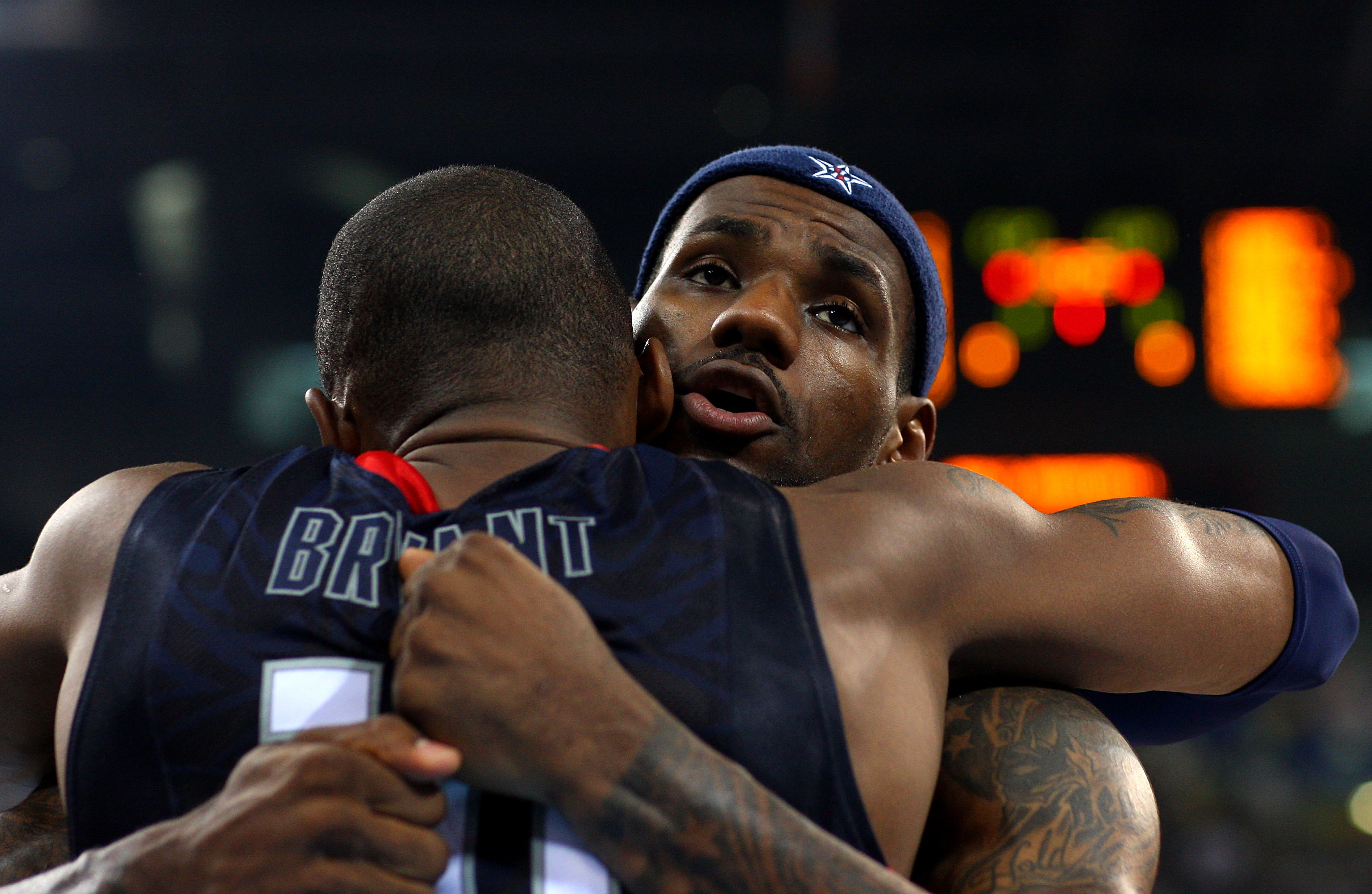 BEIJING - AUGUST 24:  LeBron James #6 and Kobe Bryant #10 of the United States embrace before the gold medal game against Spain during Day 16 of the Beijing 2008 Olympic Games at the Beijing Olympic Basketball Gymnasium on August 24, 2008 in Beijing, Chin