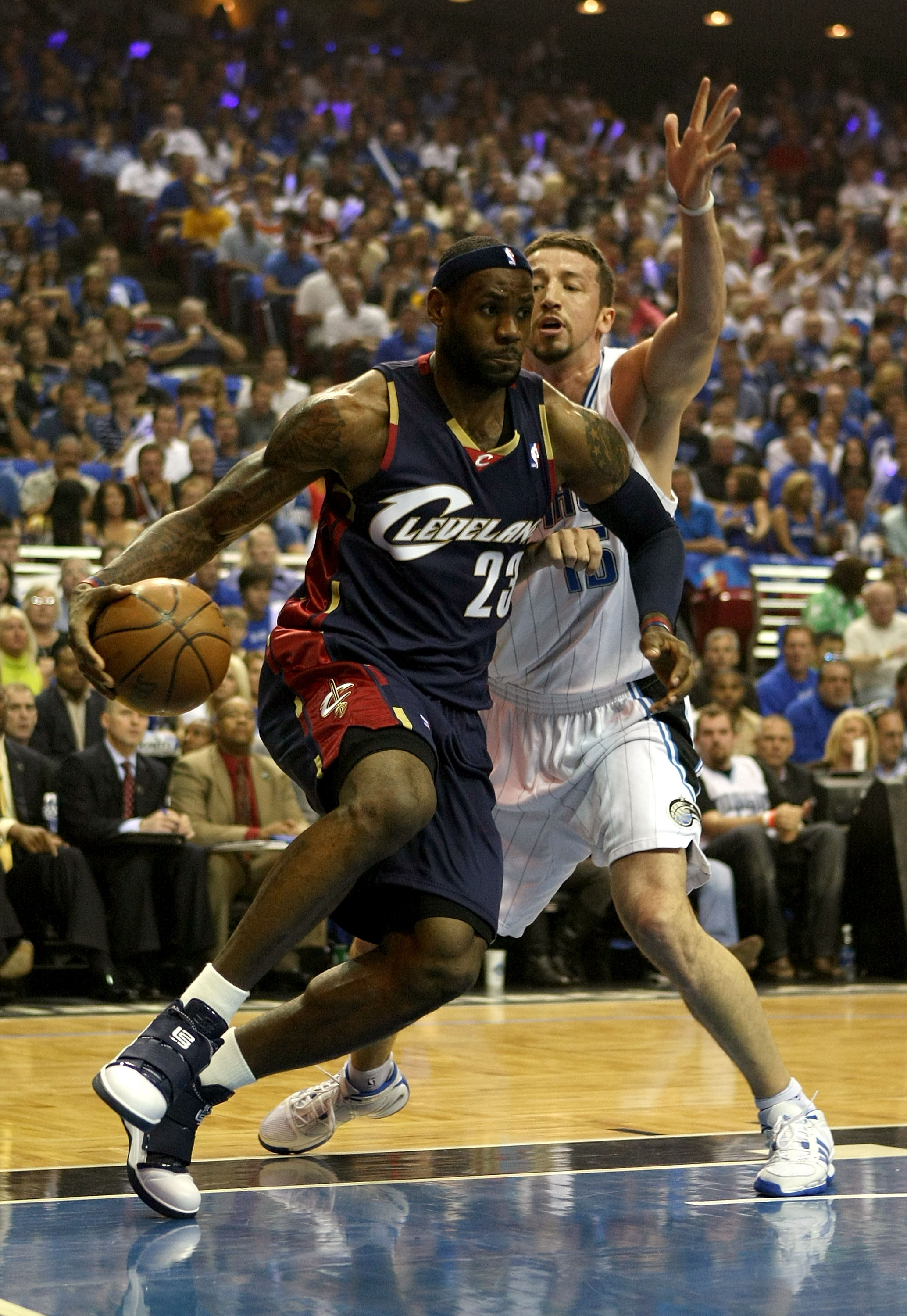 ORLANDO, FL - MAY 30:  LeBron James #23 of the Cleveland Cavaliers drives to the hoop against Hedo Turkoglu #15 of the Orlando Magic in Game Six of the Eastern Conference Finals during the 2009 Playoffs at Amway Arena on May 30, 2009 in Orlando, Florida.