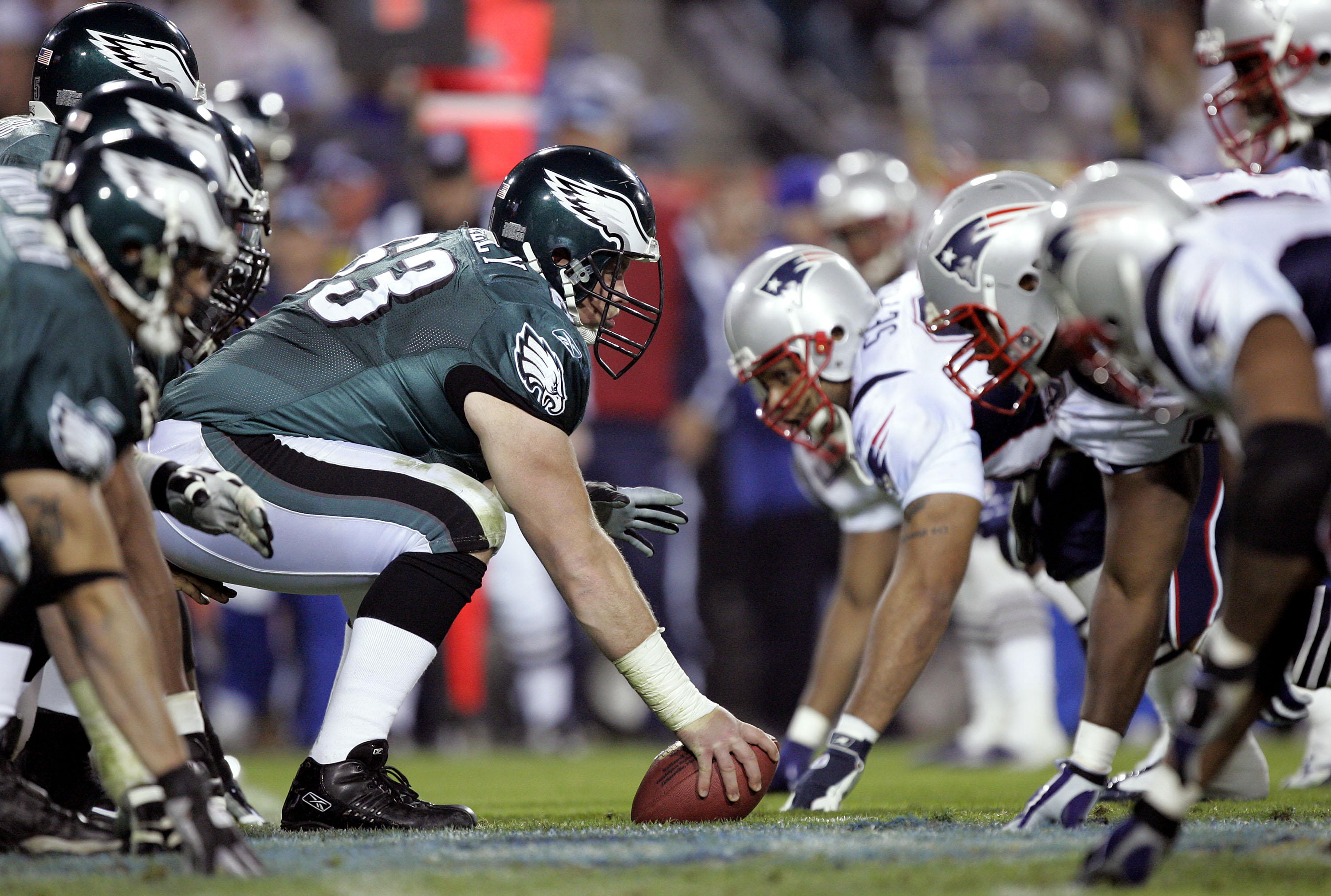 JACKSONVILLE, FL - FEBRUARY 06:  Hank Fraley #63 of the Philadelphia Eagles prepares to snap against the New England Patriots in the fourth quarter of Super Bowl XXXIX at Alltel Stadium on February 6, 2005 in Jacksonville, Florida.  (Photo by Brian Bahr/G