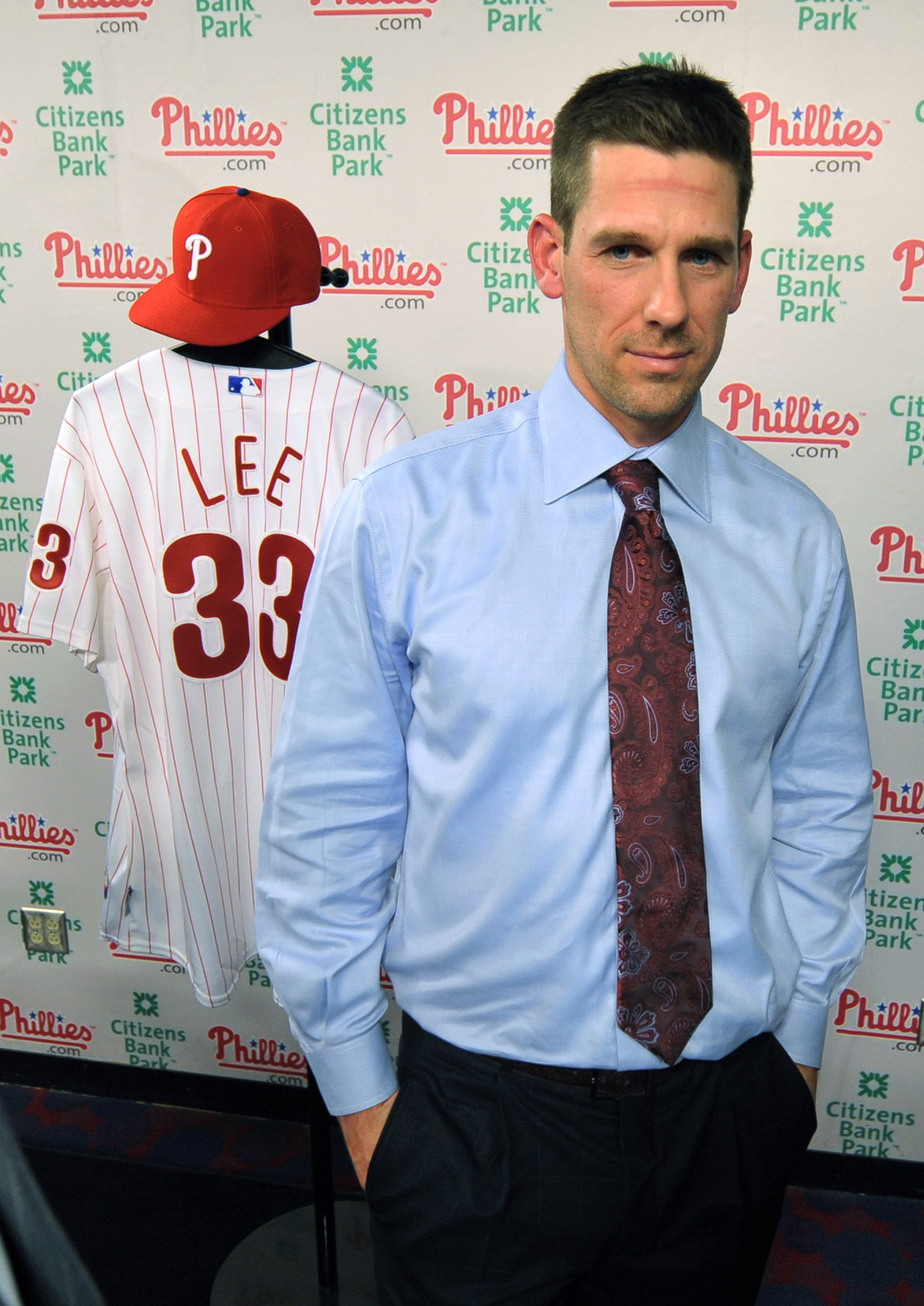 PHILADELPHIA - DECEMBER 15: Pitcher Cliff Lee #33 of the Philadelphia Phillies waits to be interviewed after being introduced to the media during a press conference at Citizens Bank Park on December 15, 2010 in Philadelphia, Pennsylvania. (Photo by Drew H