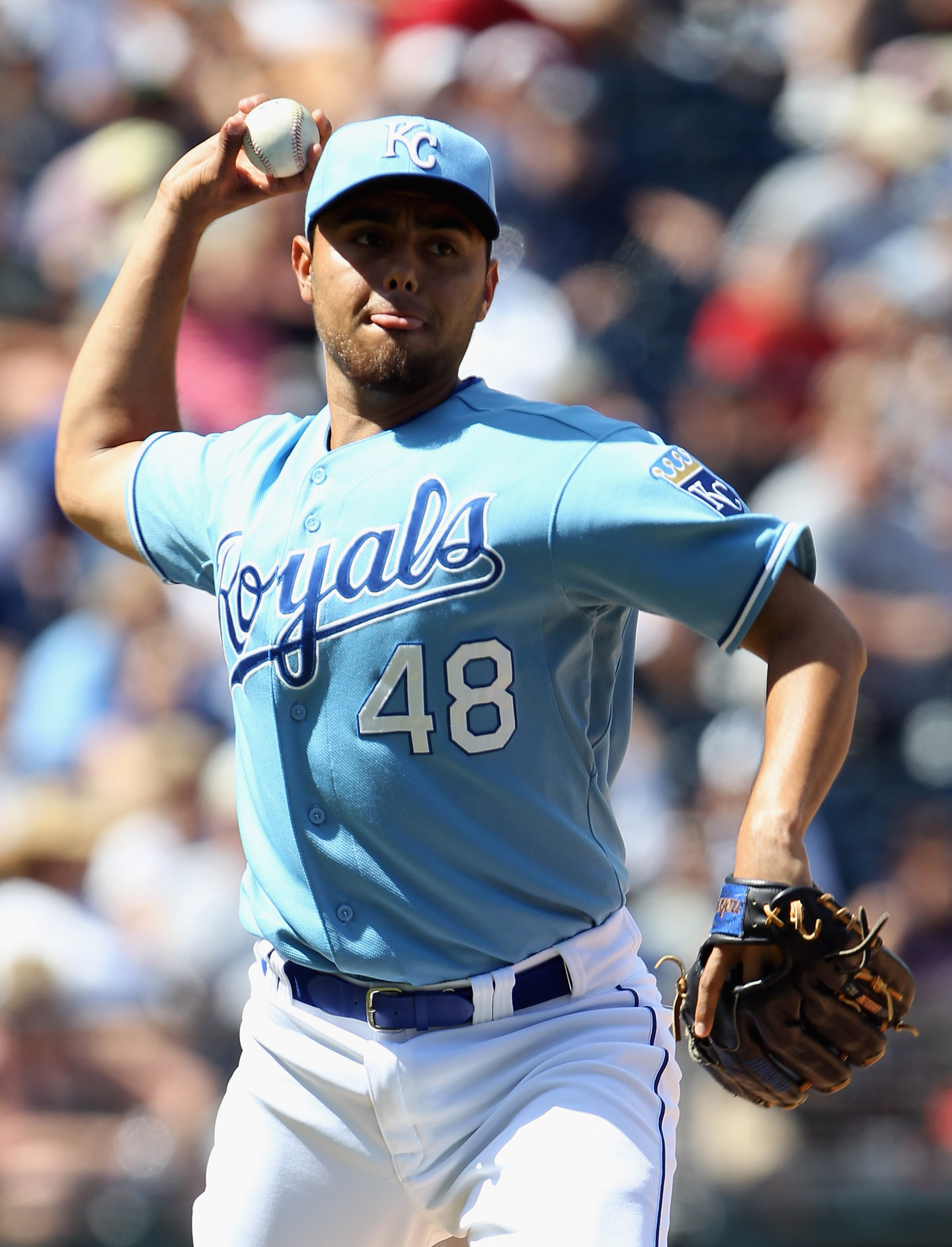 KANSAS CITY, MO - AUGUST 15:  Pitcher Joakim Soria #48 of the Kansas City Royals throws toward first during the game against the New York Yankees on August 15, 2010 at Kauffman stadium in Kansas City, Missouri.  (Photo by Jamie Squire/Getty Images)
