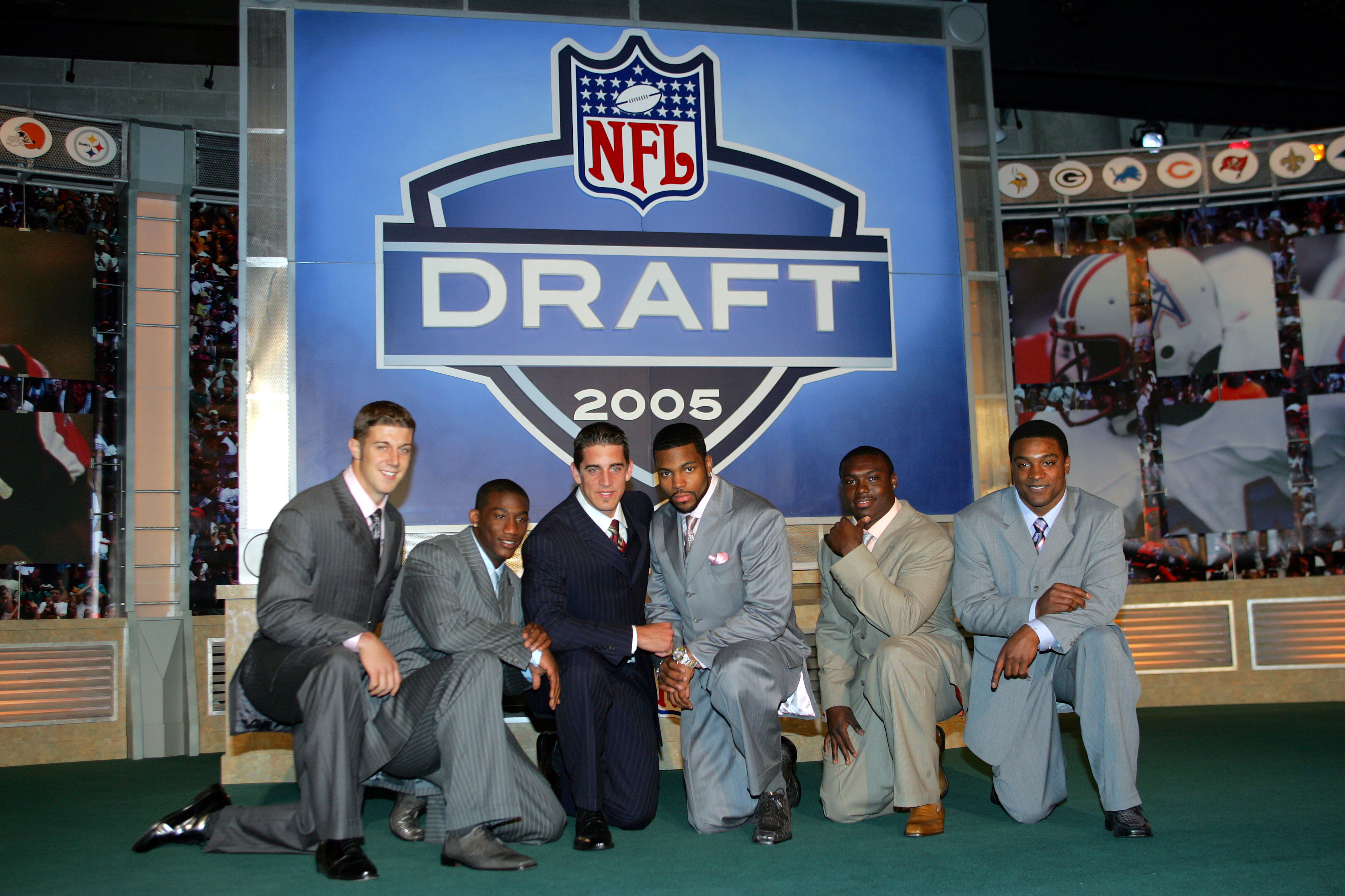 NEW YORK - APRIL 23:  (L-R) Alex Smith (Utah), Antrel Rolle (Miami), Aaron Rodgers (California), Braylon Edwards (Michigan),Ronnie Brown (Auburn) and Cedric Benson (Texas) pose during the 70th NFL Draft on April 23, 2005 at the Jacob K. Javits Convention