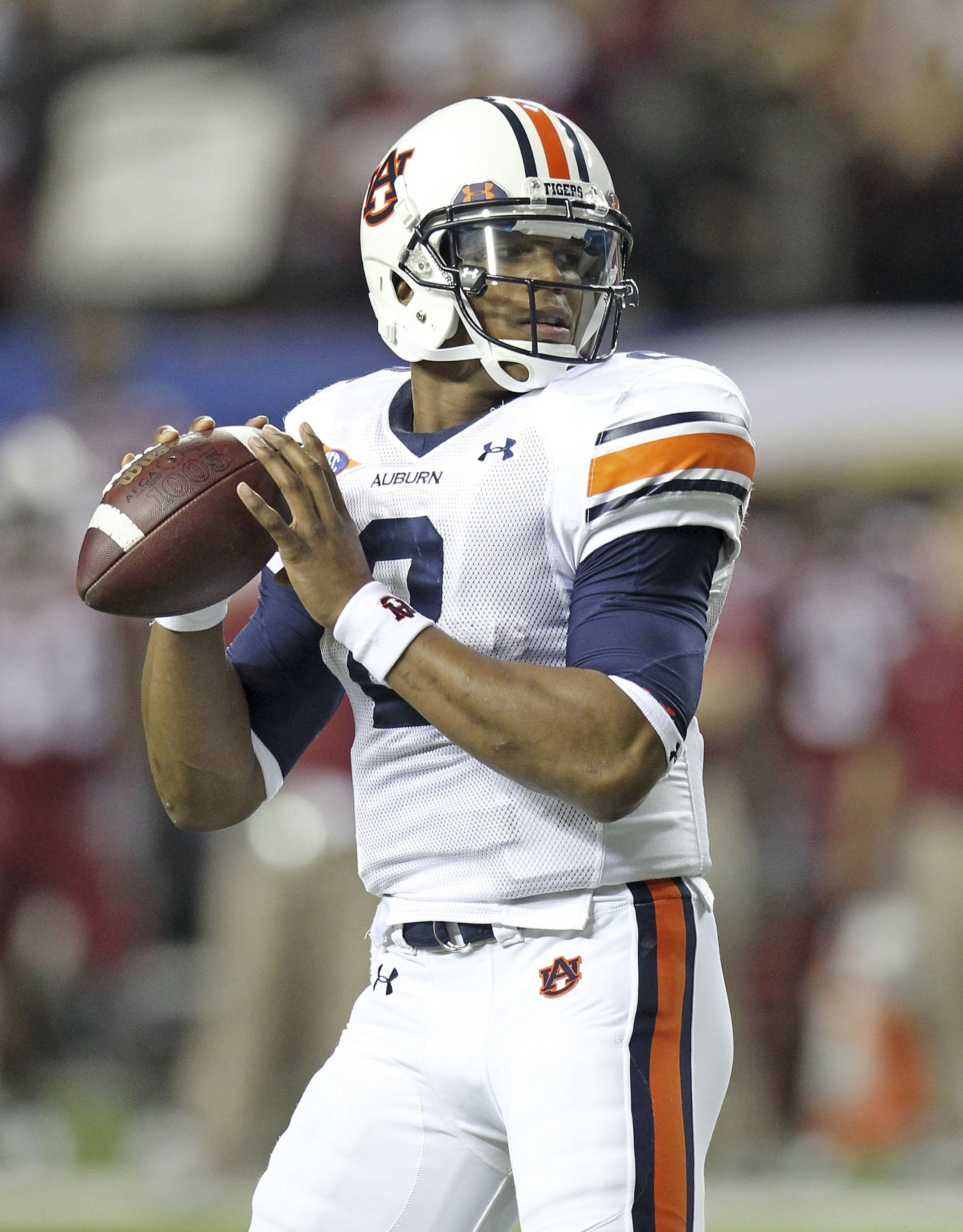 ATLANTA - DECEMBER 04:  Quarterback Cam Newton #2 of the Auburn Tigers looks to pass the ball during the 2010 SEC Championship against the South Carolina Gamecocks at Georgia Dome on December 4, 2010 in Atlanta, Georgia.  (Photo by Mike Zarrilli/Getty Ima