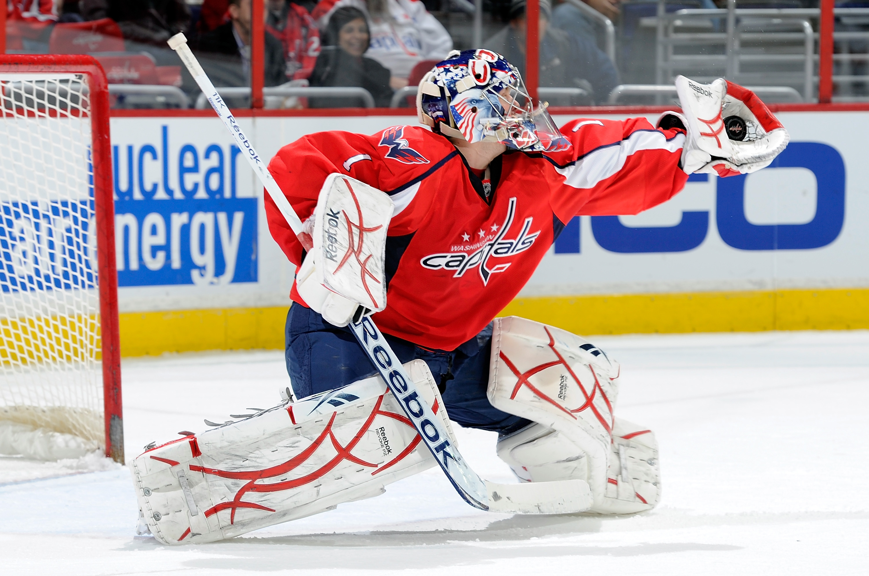 WASHINGTON, DC - DECEMBER 09:  Semyon Varlamov #1 of the Washington Capitals makes a save against the Florida Panthers at the Verizon Center on December 9, 2010 in Washington, DC.  (Photo by Greg Fiume/Getty Images)