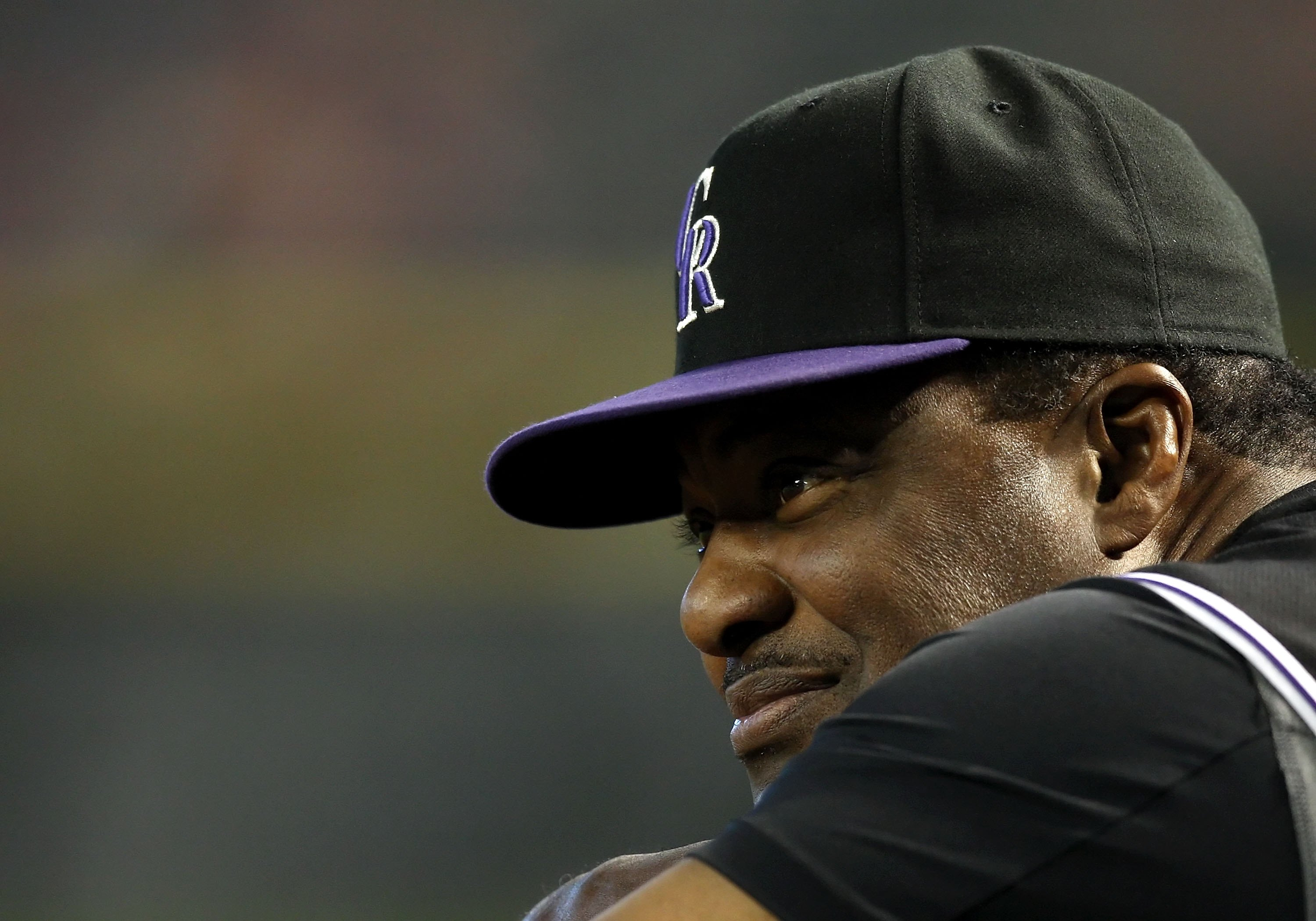 PHOENIX - APRIL 08:  Coach Don Baylor of the Colorado Rockies looks on during the game against the Arizona Diamondbacks at Chase Field on April 8, 2009 in Phoenix, Arizona. The Rockies defeated the Diamondbacks 9-2.  (Photo by Christian Petersen/Getty Ima