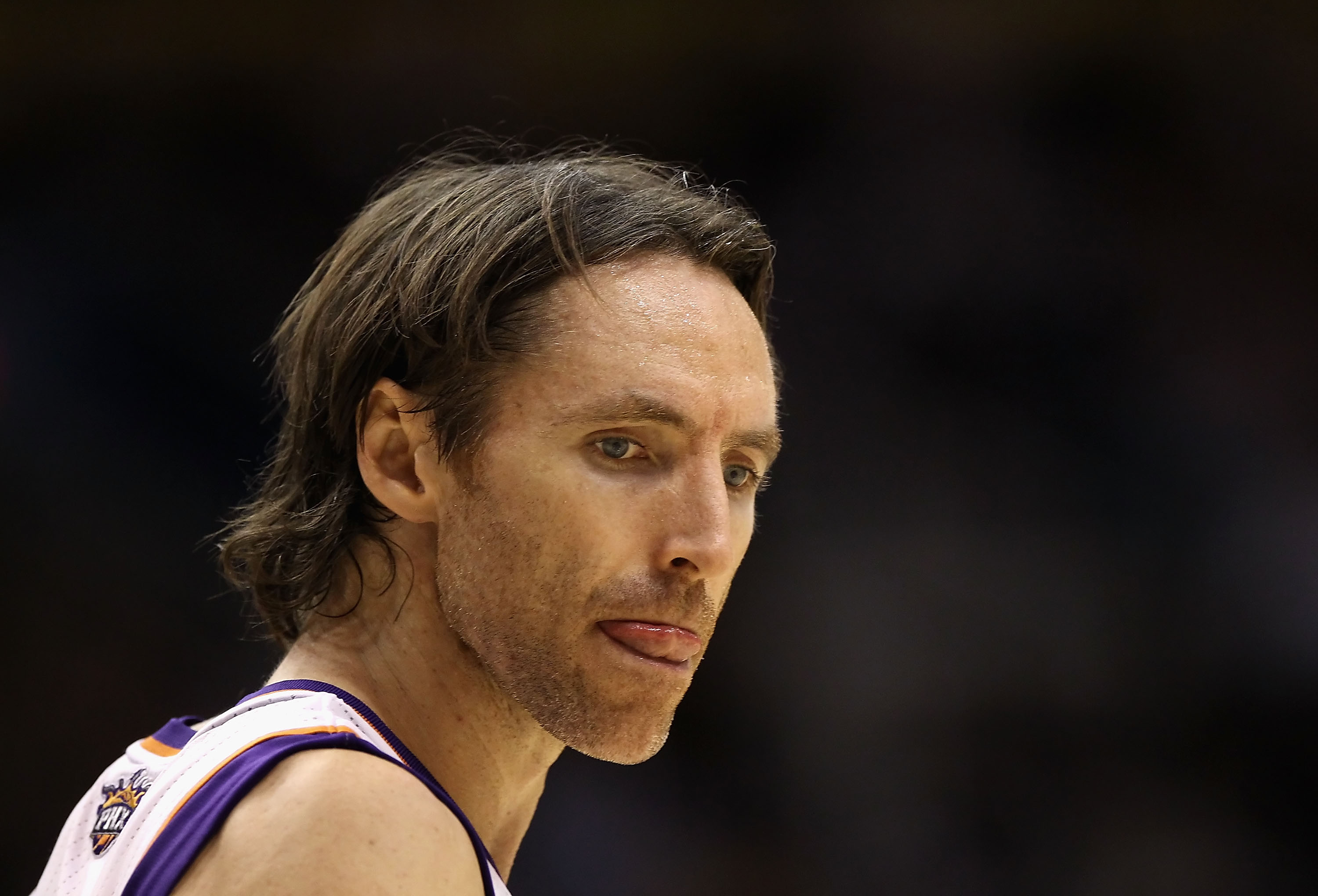 PHOENIX - DECEMBER 10:  Steve Nash #13 of the Phoenix Suns reacts during the NBA game against the Portland Trail Blazers at US Airways Center on December 10, 2010 in Phoenix, Arizona.  The Trail Blazers defeated the Suns 101-94. NOTE TO USER: User express