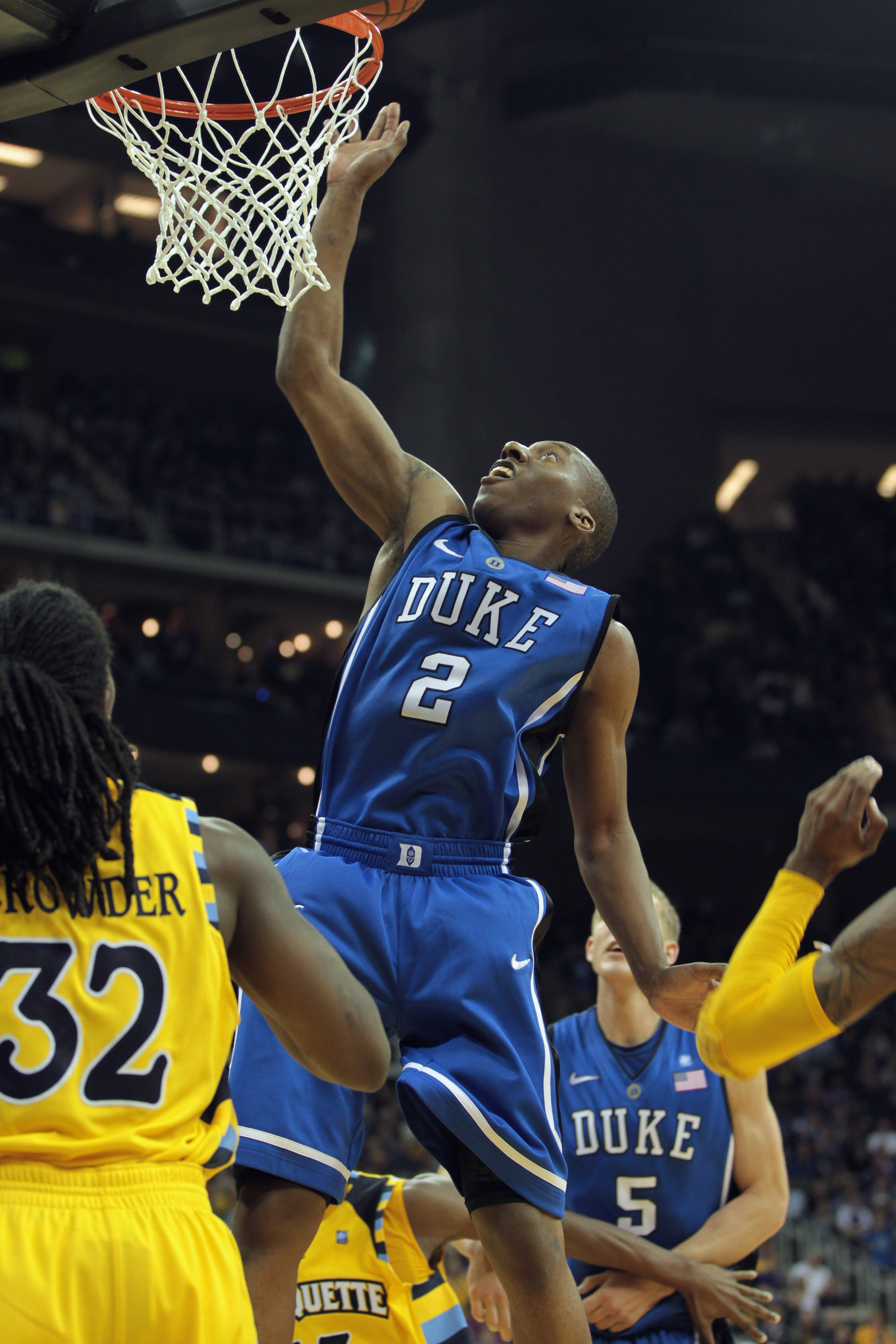 KANSAS CITY, MO - NOVEMBER 22:  Nolan Smith #2 of the Duke Blue Devils in action during the CBE Classic game against the Marquette Golden Eagles on November 22, 2010 at the Sprint Center in Kansas City, Missouri.  (Photo by Jamie Squire/Getty Images)