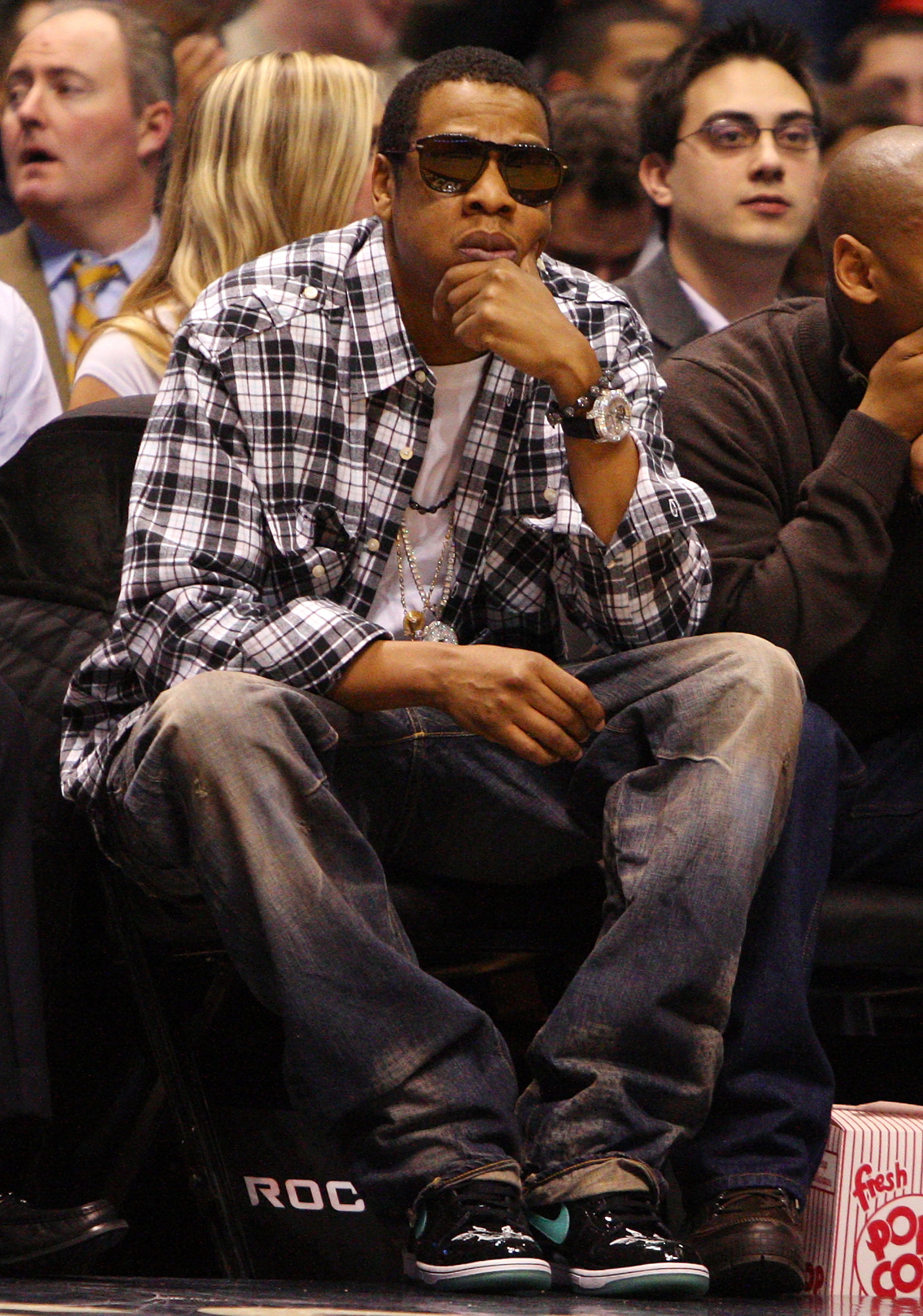 EAST RUTHERFORD, NJ - NOVEMBER 18:  Recording artist and partial owner of the New Jersey Nets Jay-Z looks on as the New Jersey Nets play the Cleveland Cavaliers at the Izod Center on November 18, 2008 in East Rutherford, New Jersey. NOTE TO USER: User exp