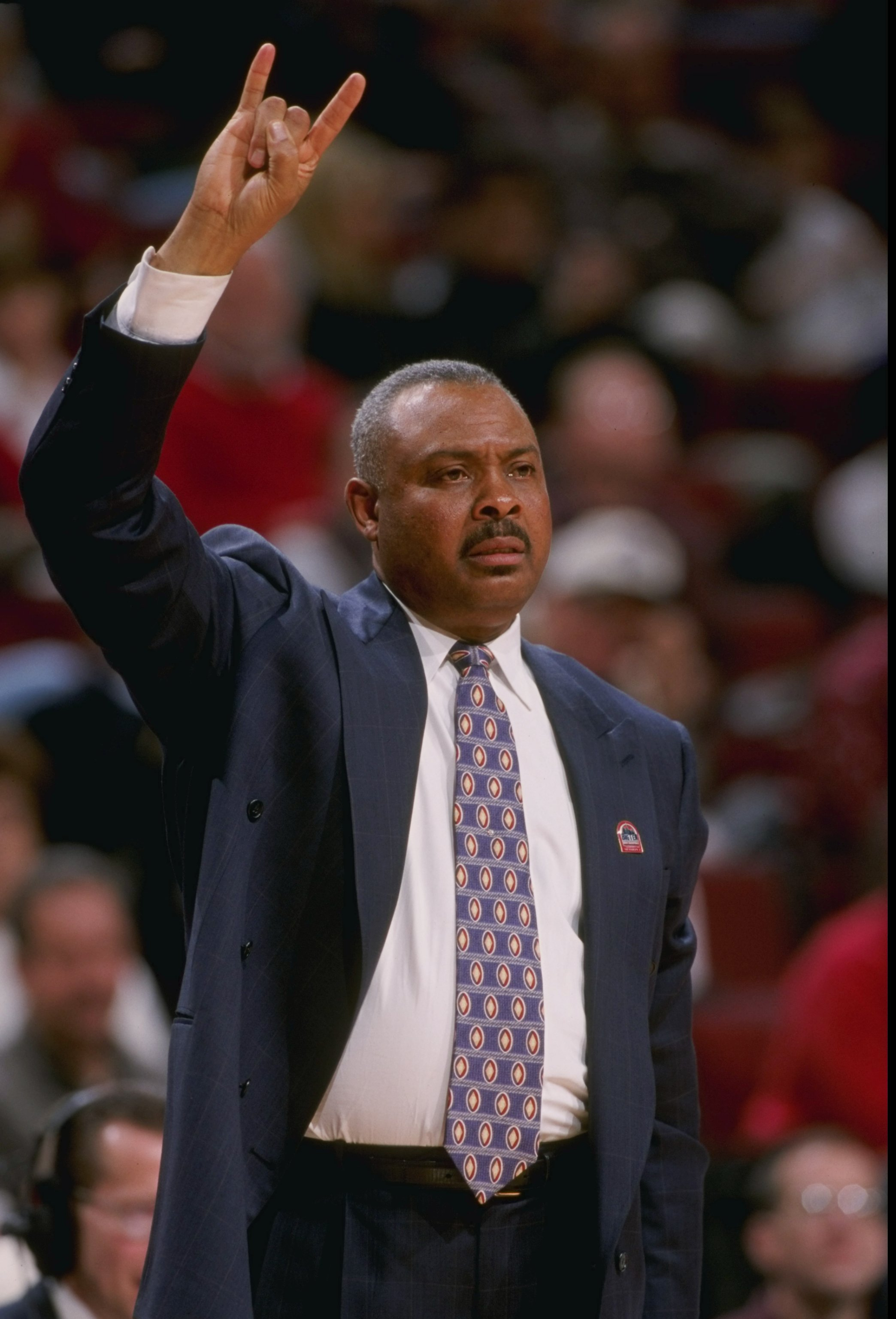 5 Mar 1998:  Coach Clem Haskins of the Minnesota Golden Gophers looks on during a Big 10 Tournament game against the Northwestern Wildcats at the United Center in Chicago, Illinois.  Minnesota defeated Northwestern 64-56. Mandatory Credit: Jonathan Daniel