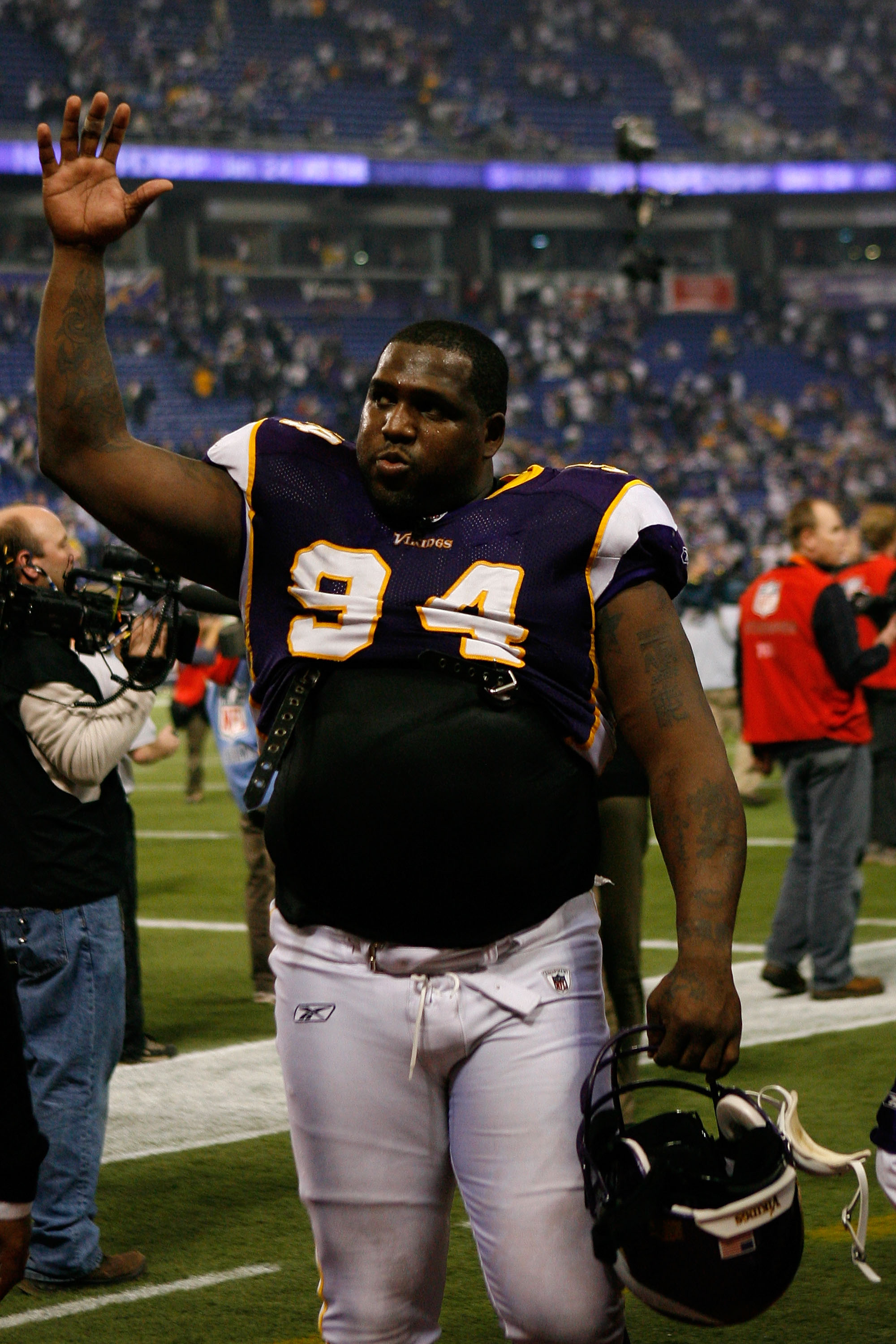 MINNEAPOLIS - JANUARY 17:  Pat Williams #94 of the Minnesota Vikings walks off the field after defeating the Dallas Cowboys 34-3 during the NFC Divisional Playoff Game at Hubert H. Humphrey Metrodome on January 17, 2010 in Minneapolis, Minnesota.  (Photo