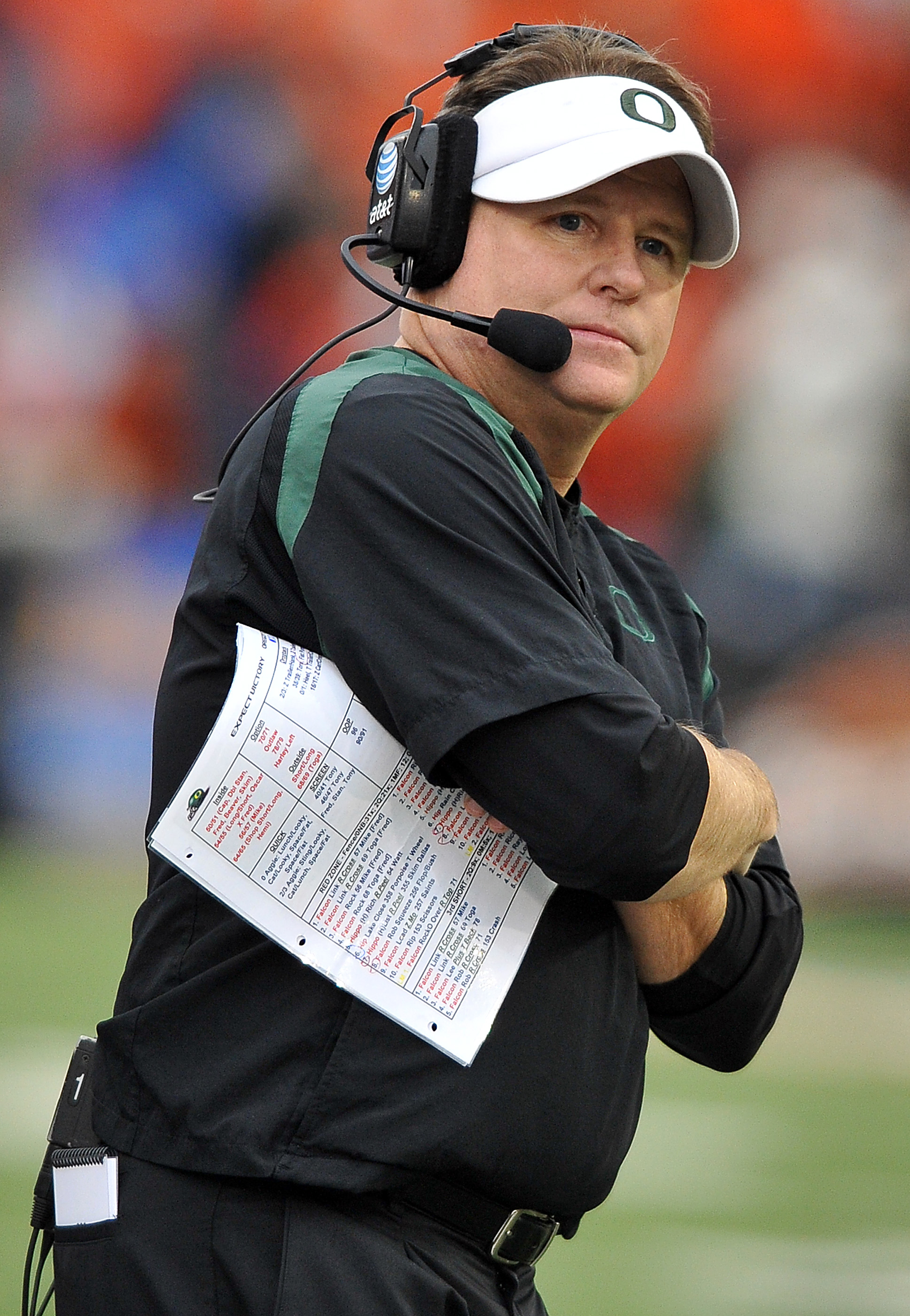 CORVALLIS, OR - DECEMBER 4: Head coach Chip Kelly of the Oregon Ducks looks on from the sidelines in the fourth quarter of the game against the the Oregon State Beavers at Reser Stadium on December 4, 2010 in Corvallis, Oregon. The Ducks beat the Beavers